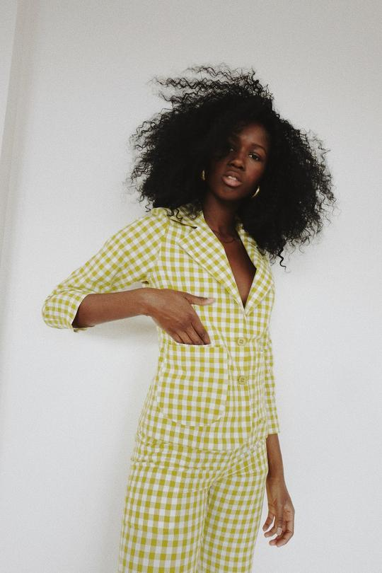 Yellow Gingham Galina Blazer by Selva Negra