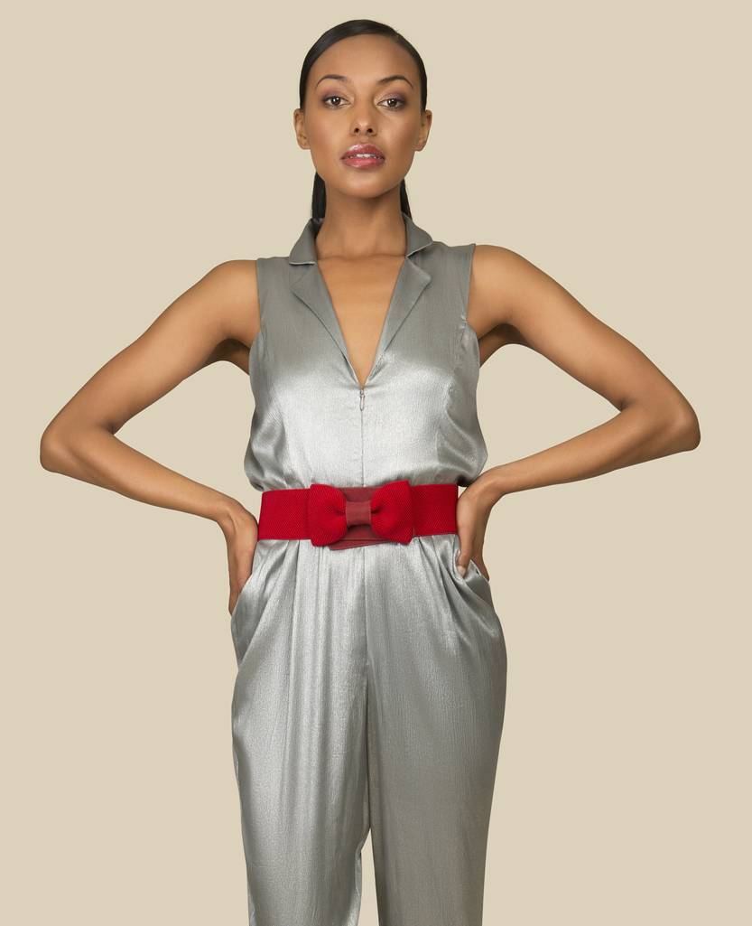 Silver Silk Jumpsuit by Agaati