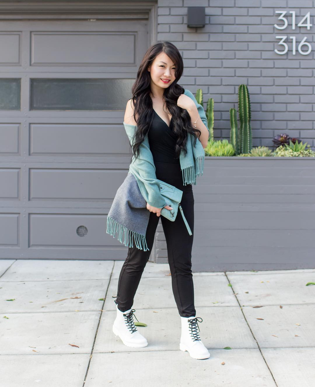 Les Lunes Comfortable Bodysuit Scarf Boots // Week Of Outfits With Diana Youn On The Good Trade