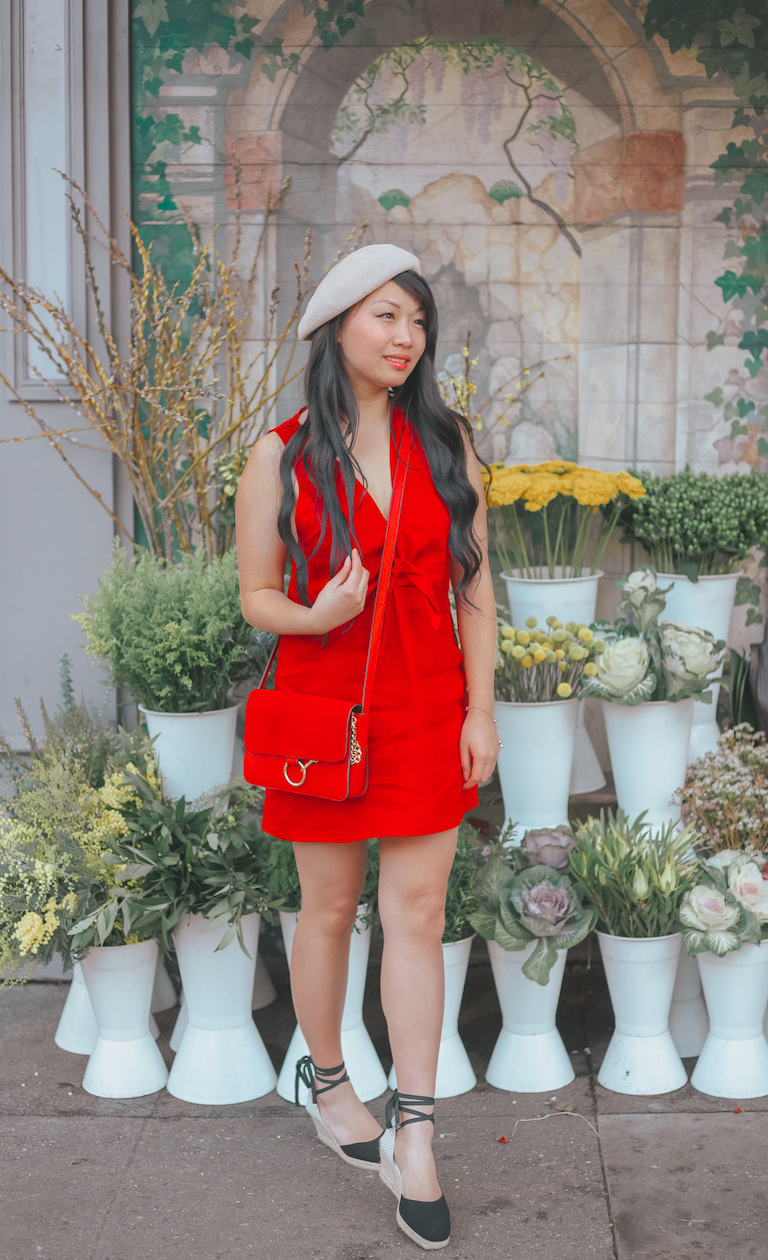 Red Reformation Dress Les Lunes Beret // Week Of Outfits With Diana Youn On The Good Trade