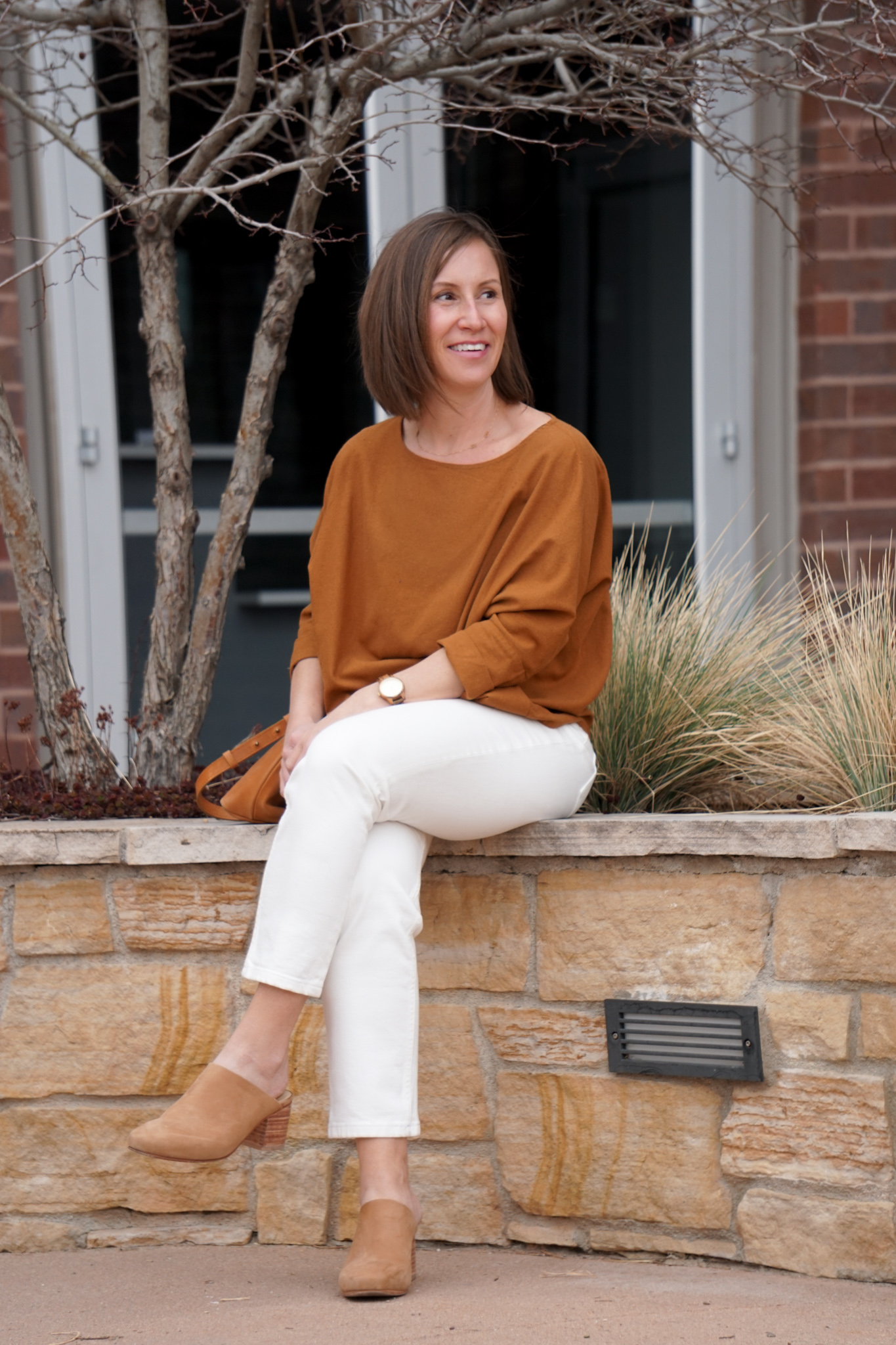 Cool Weather Orange Top White Pants Look // Week Of Outfits With Paige Marchi On The Good Trade