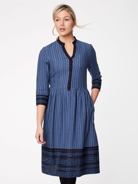 Victorian-Inspired Ethical Fashion | Sasha Stripe Embroidered Hemp Dress - Thought