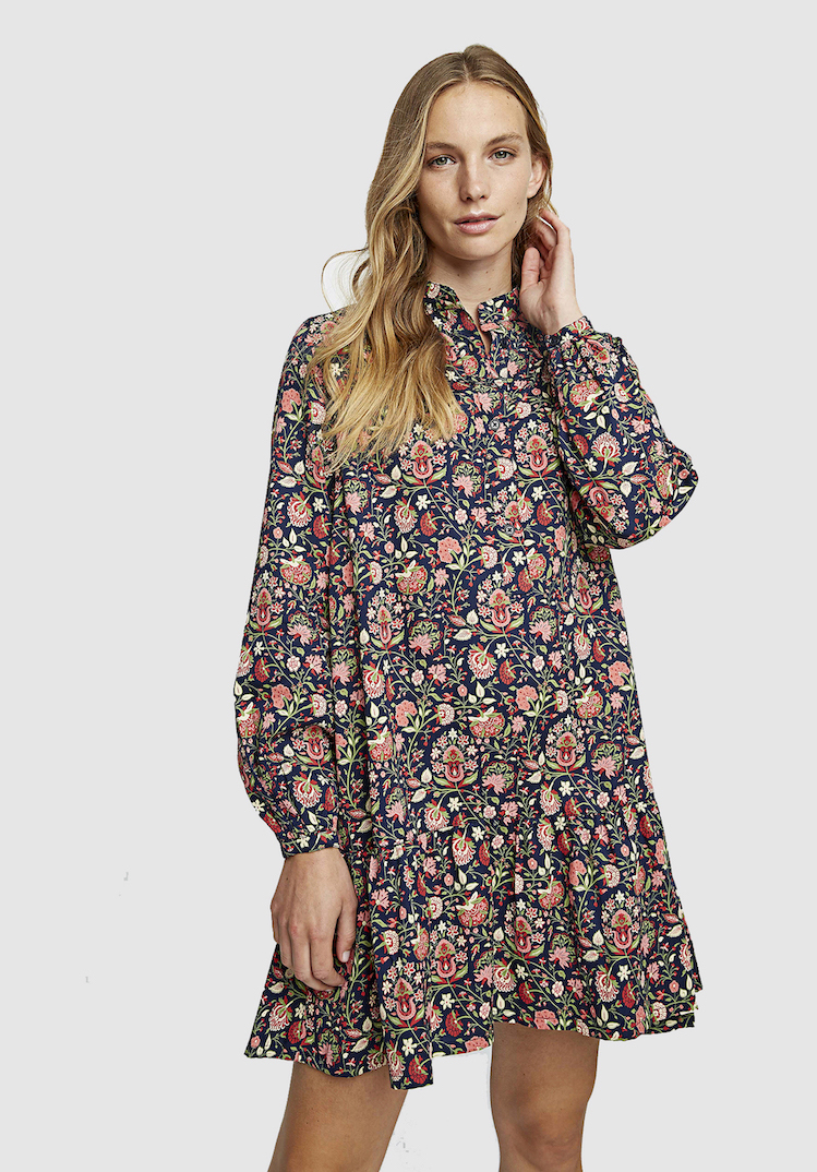 Victorian-Inspired Ethical Fashion | V&A Yasmin Print Flared Dress - People Tree