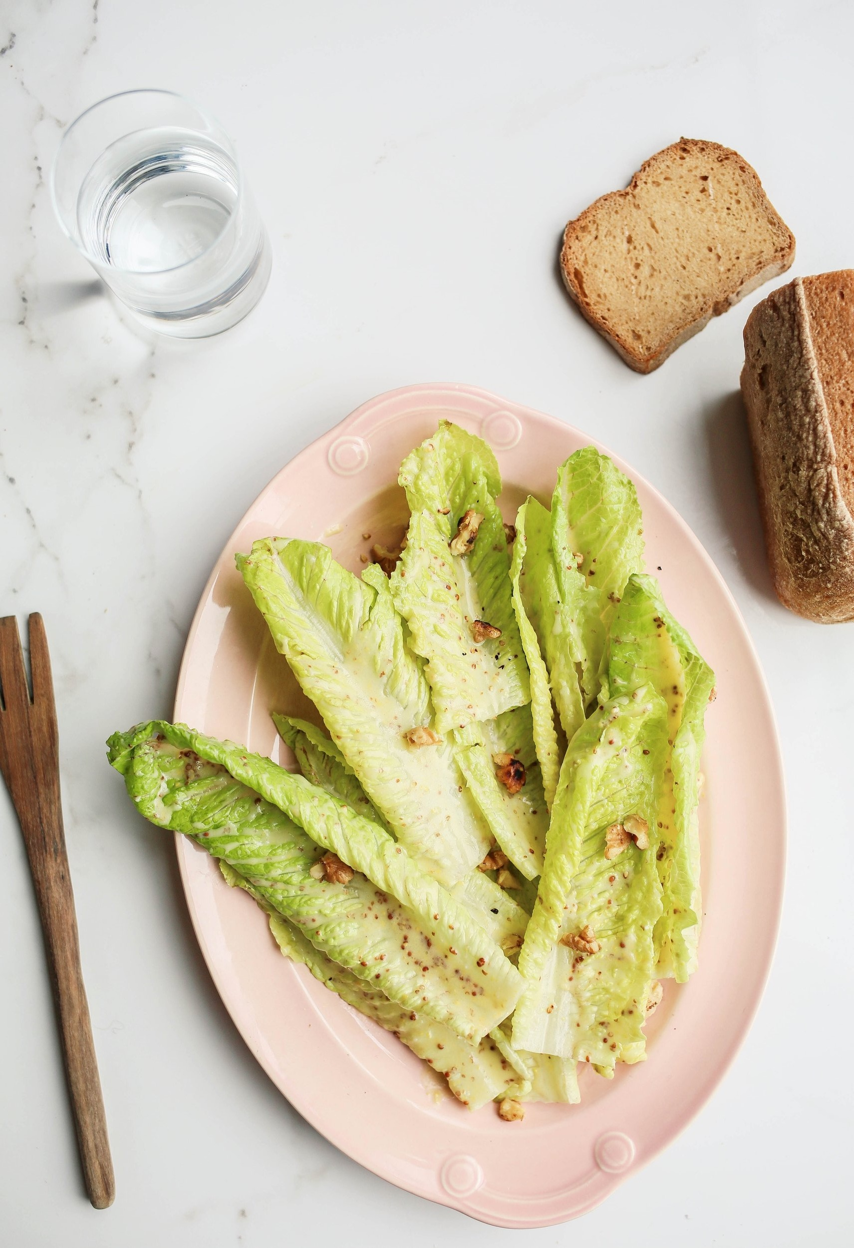 Beauty BBQ // Summer Romaine with Miso Dijon Dressing and Toasted Walnuts