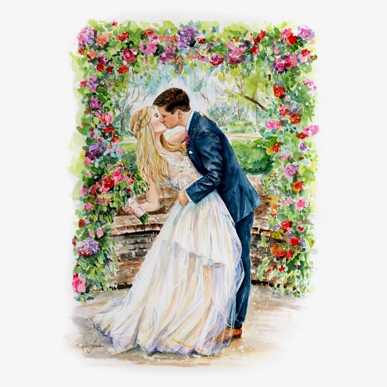 Painted portrait of the couple from Etsy - Zero Waste Wedding Gift Ideas on The Good Trade
