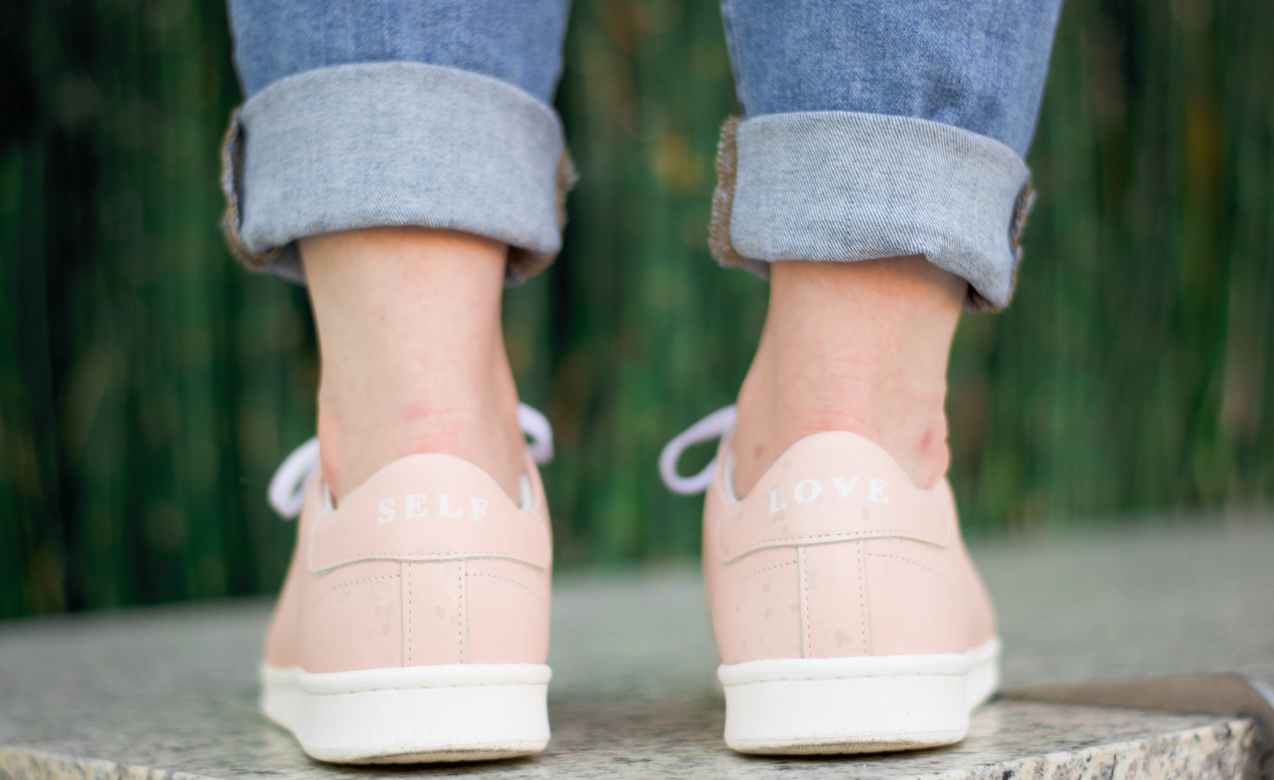 Pink Self Love Shoes // A Week Of Values-Driven Outfits With Emily Waddell From The Honest Consumer on The Good Trade