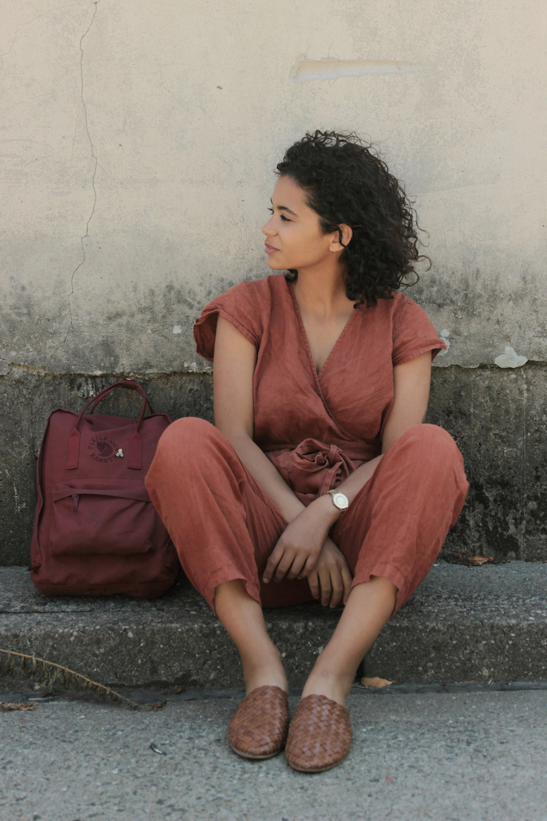 Rust linen jumpsuit // A Week Of Cute & Corporate-Friendly Outfits With Phoebe Nicette From Phoenomenal on The Good Trade