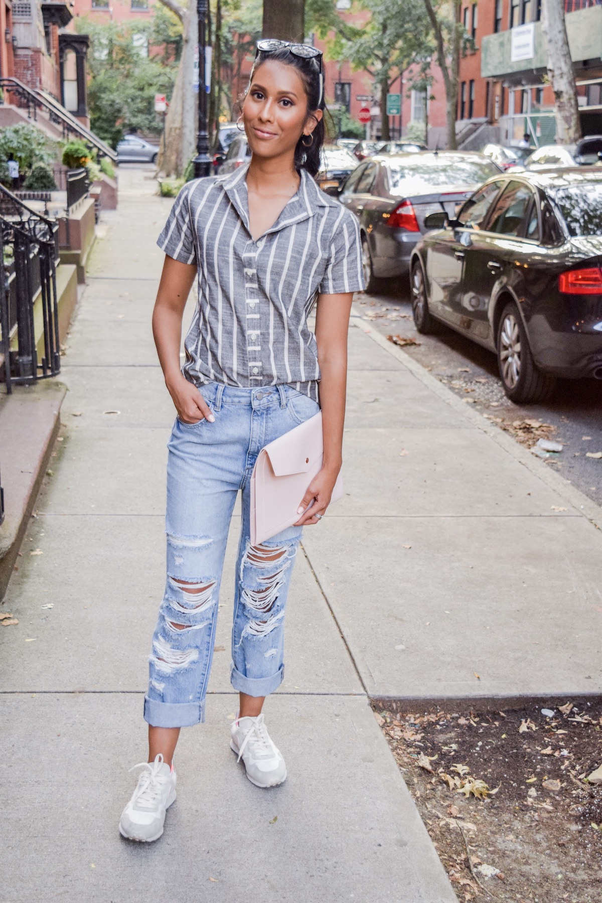 Jeans and button down // A Week Of Conscious Trend-Forward Outfits With Sabrina Ramkhelawan From Flaunt Your Fancy on The Good Trade