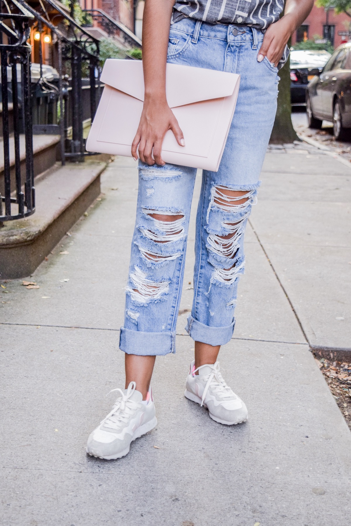 Distressed denim with sneakers // A Week Of Conscious Trend-Forward Outfits With Sabrina Ramkhelawan From Flaunt Your Fancy on The Good Trade