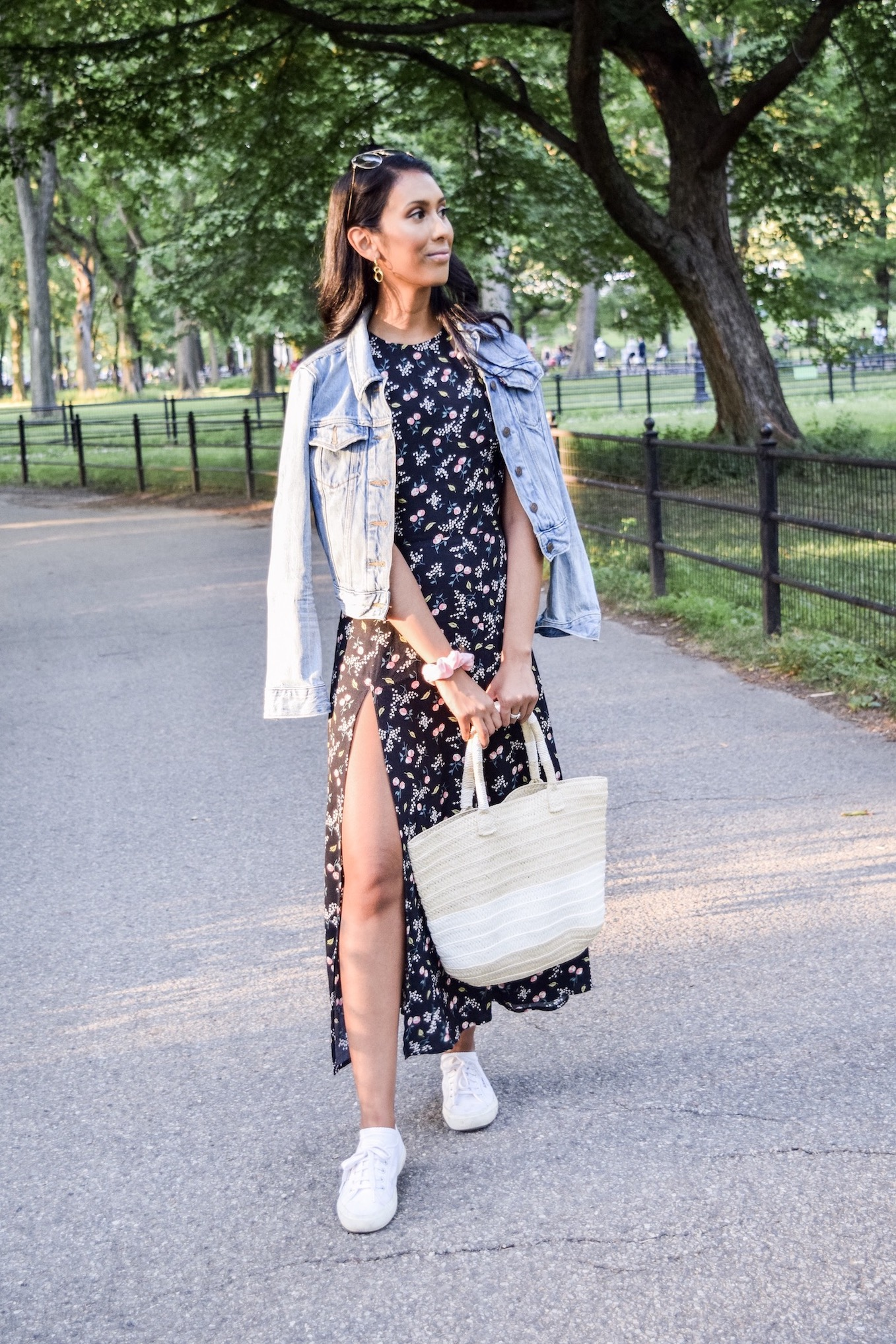 Floral dress and denim jacket // A Week Of Conscious Trend-Forward Outfits With Sabrina Ramkhelawan From Flaunt Your Fancy on The Good Trade