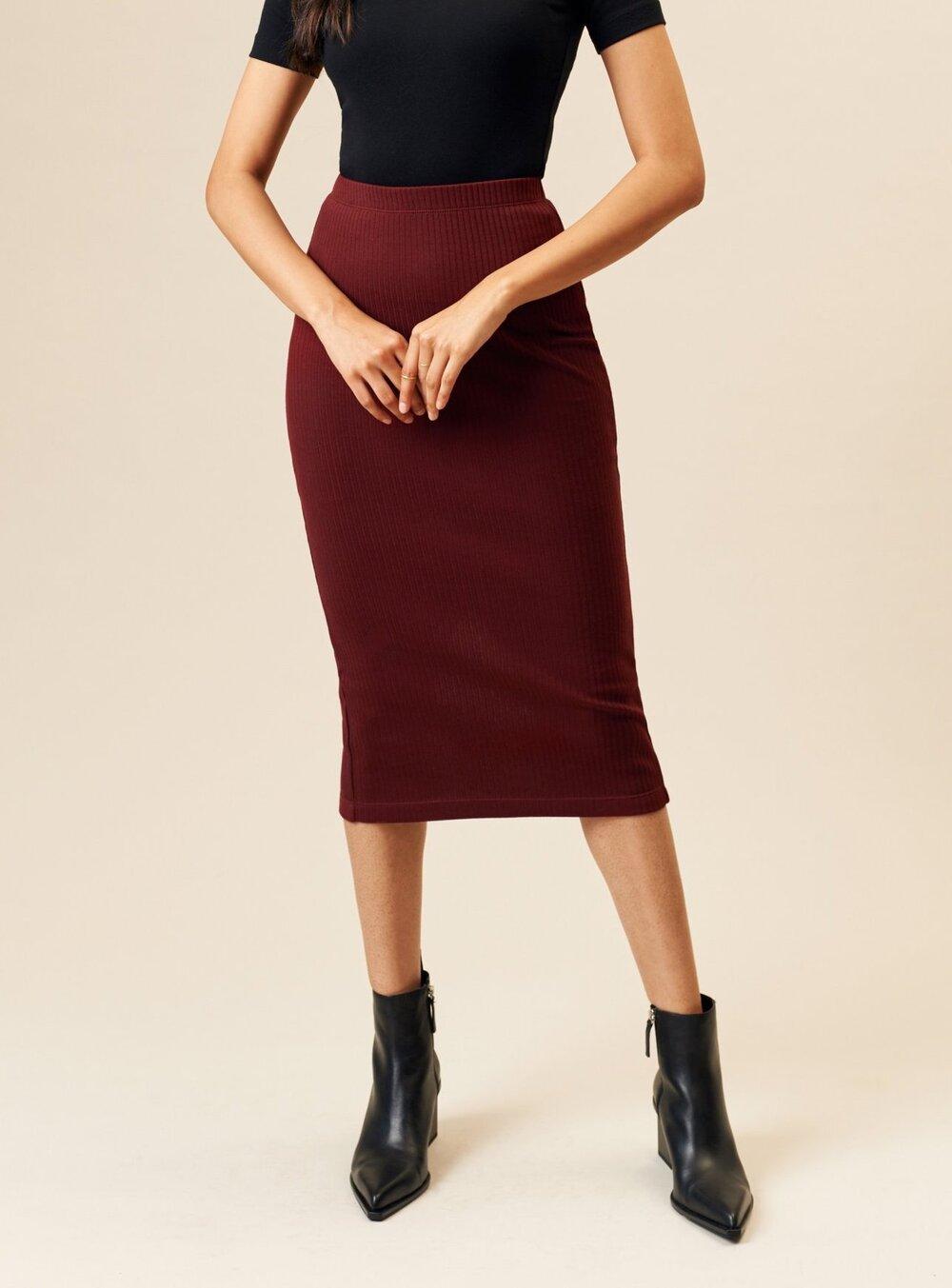 KOTN Ribbed Pencil Skirt