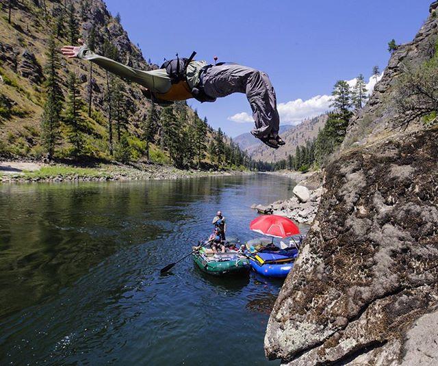 John Marinucci chucking into the #MainSalmon river last week.  #longlivesummer #theupsidedown #riverlife #wildandscenic #rafting #lotterywinners @nucsci