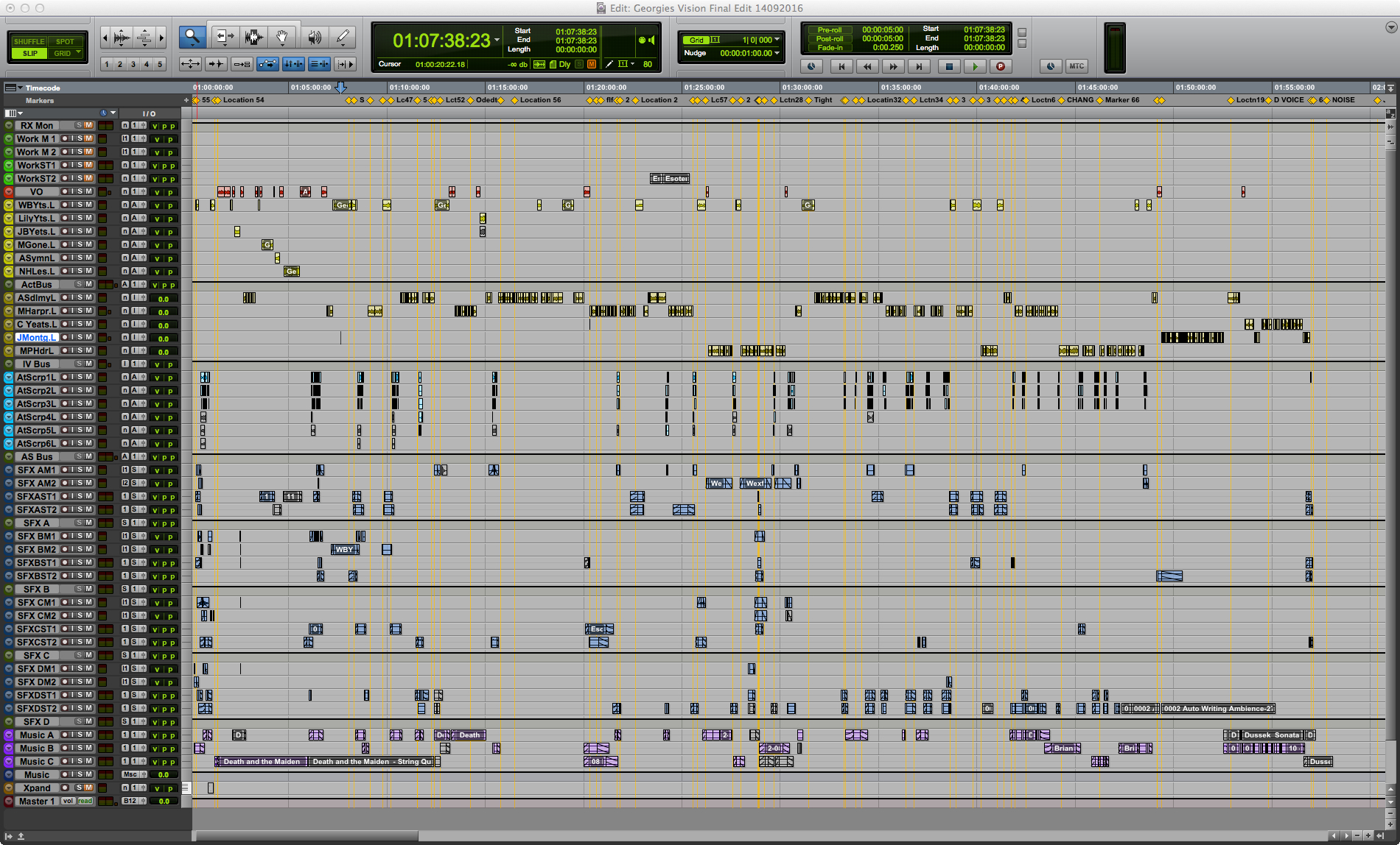 Pro Tools Edit Window for 'Georgie's Vision'