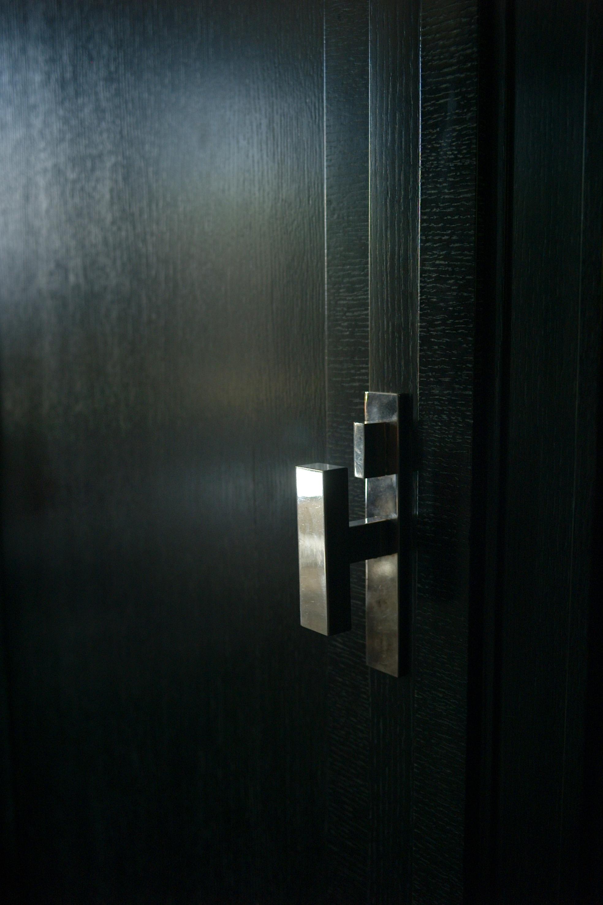 Custom entry silver doorknob
