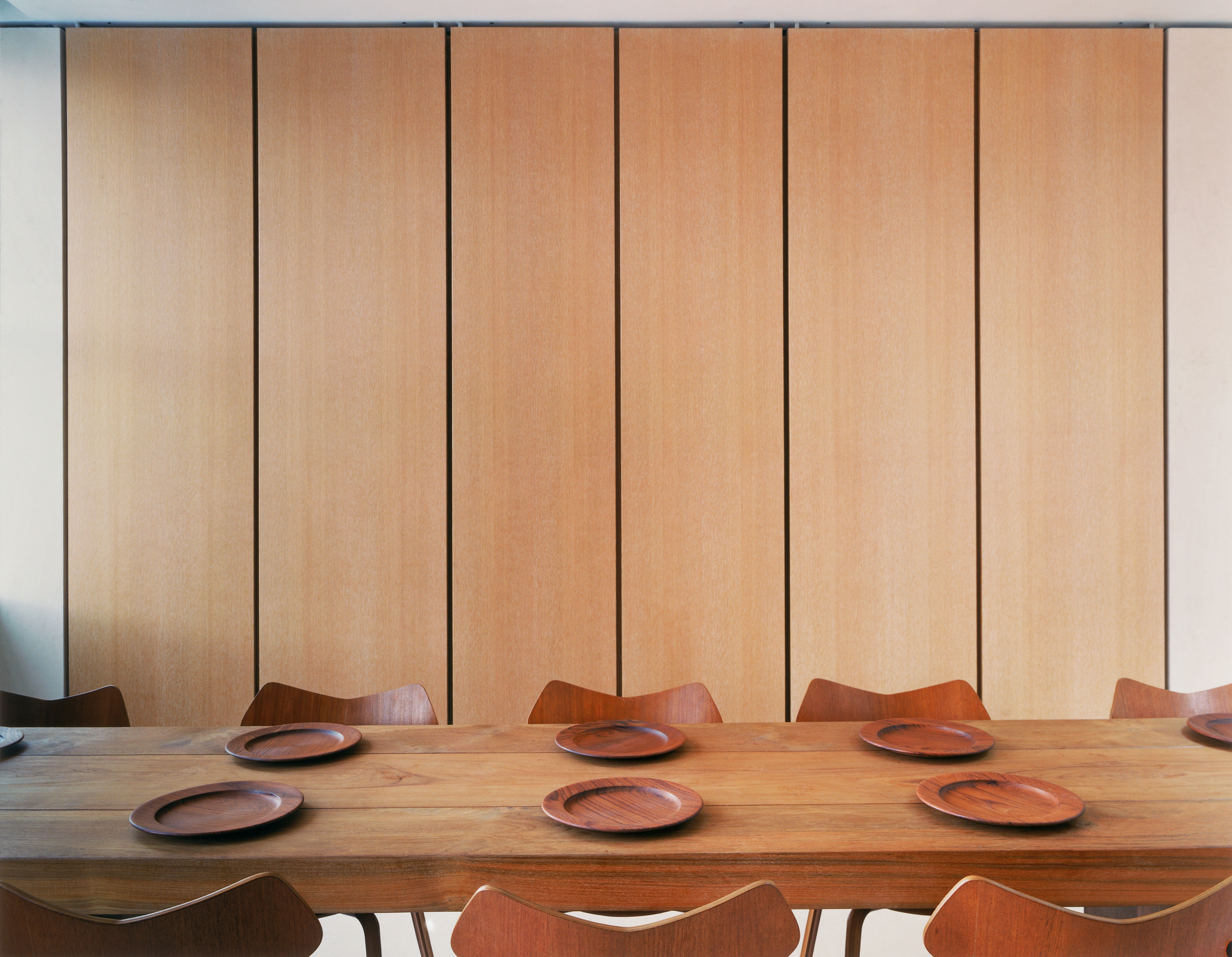 Teak table with Arne Jacobsen Grand Prix chairs