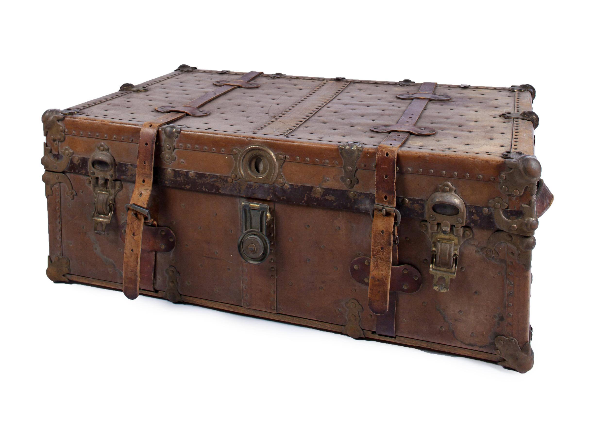 Antique Leather Suitcase w/ metal details