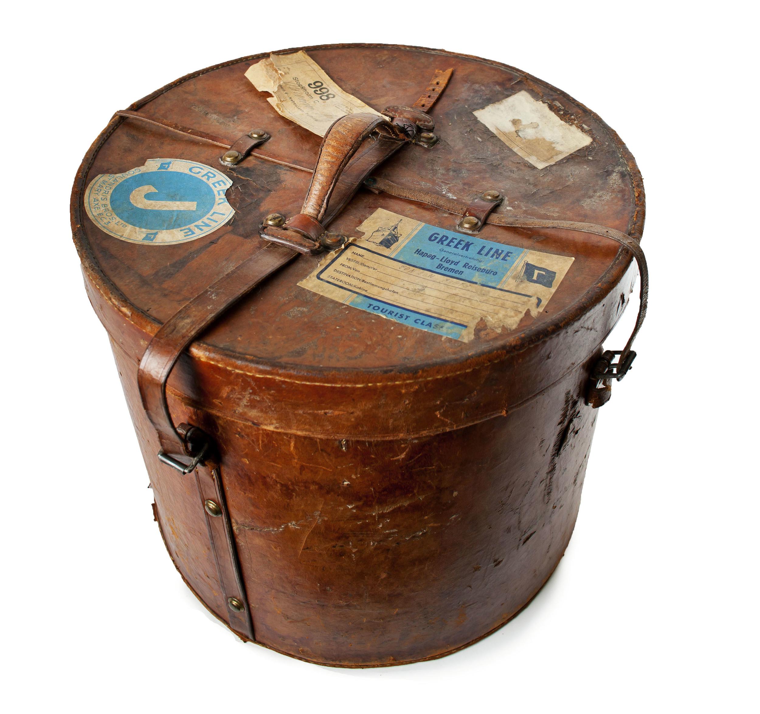 Antique Leather hat box w/ Original Travel Labels