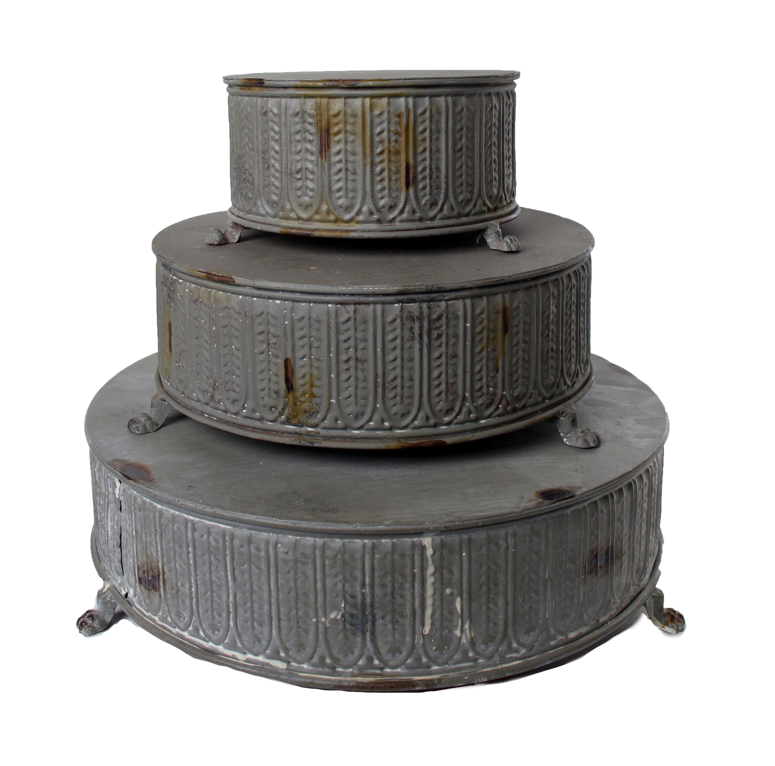 Distressed Metal Cake Stands