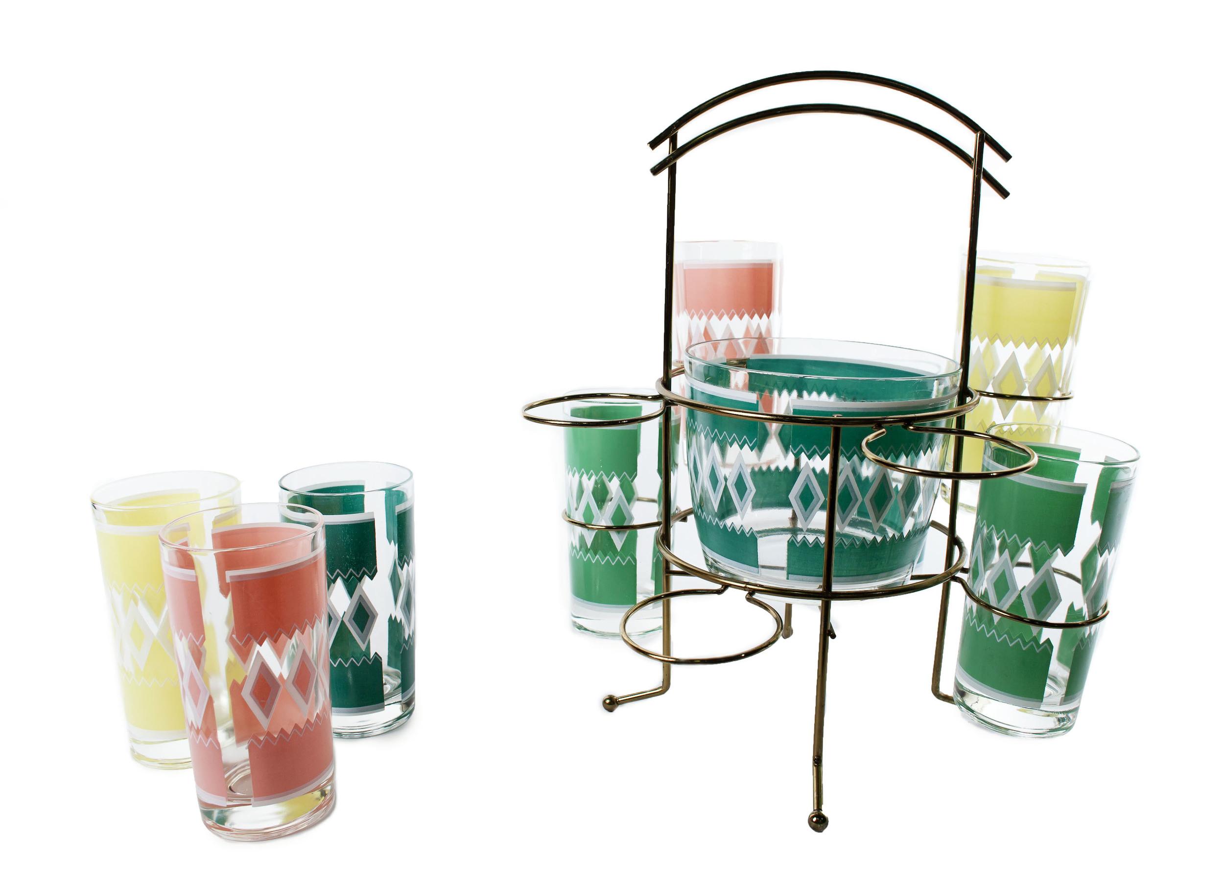 1960s glass set with ice bucket