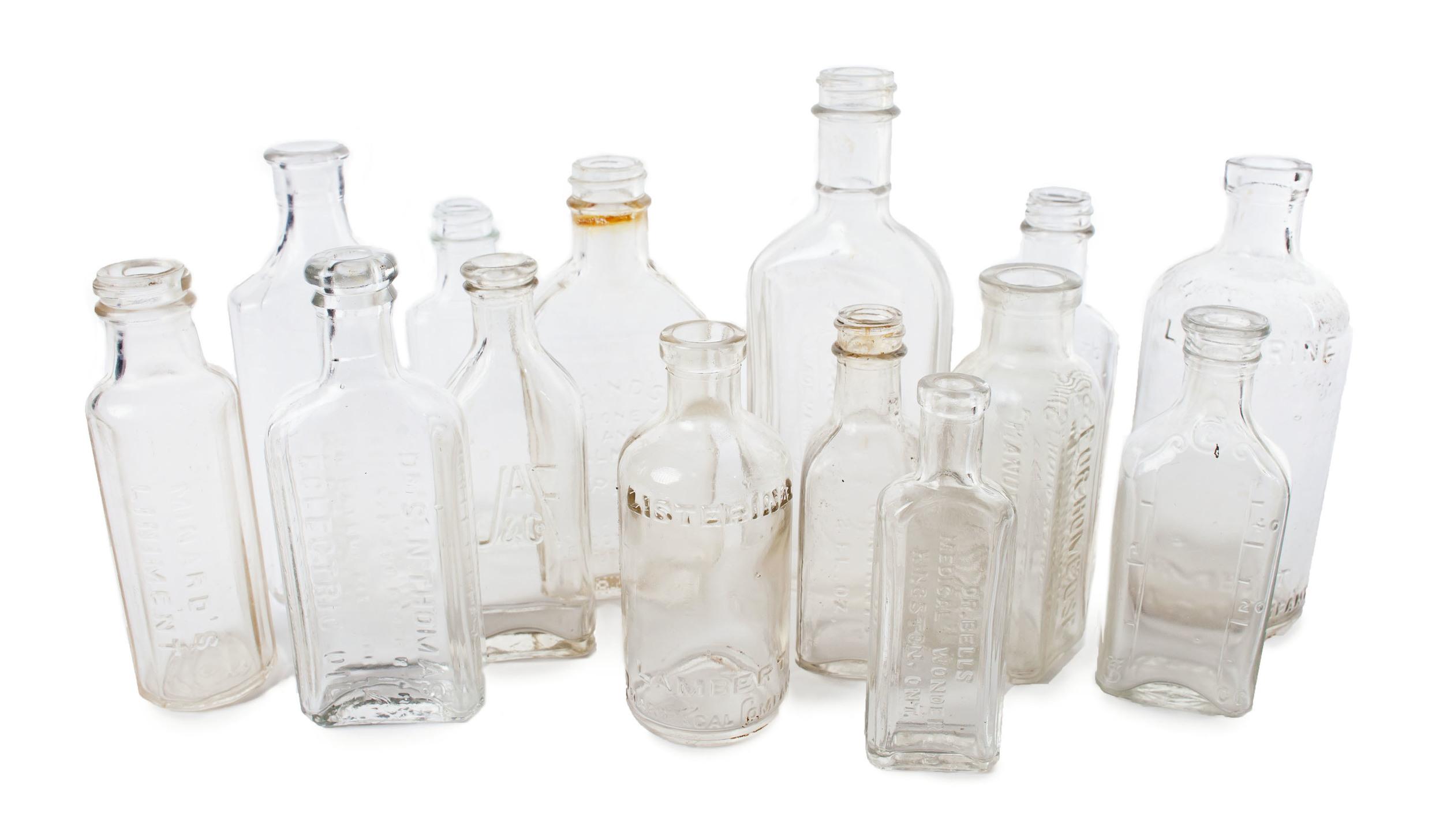Clear mini medicinal bottles