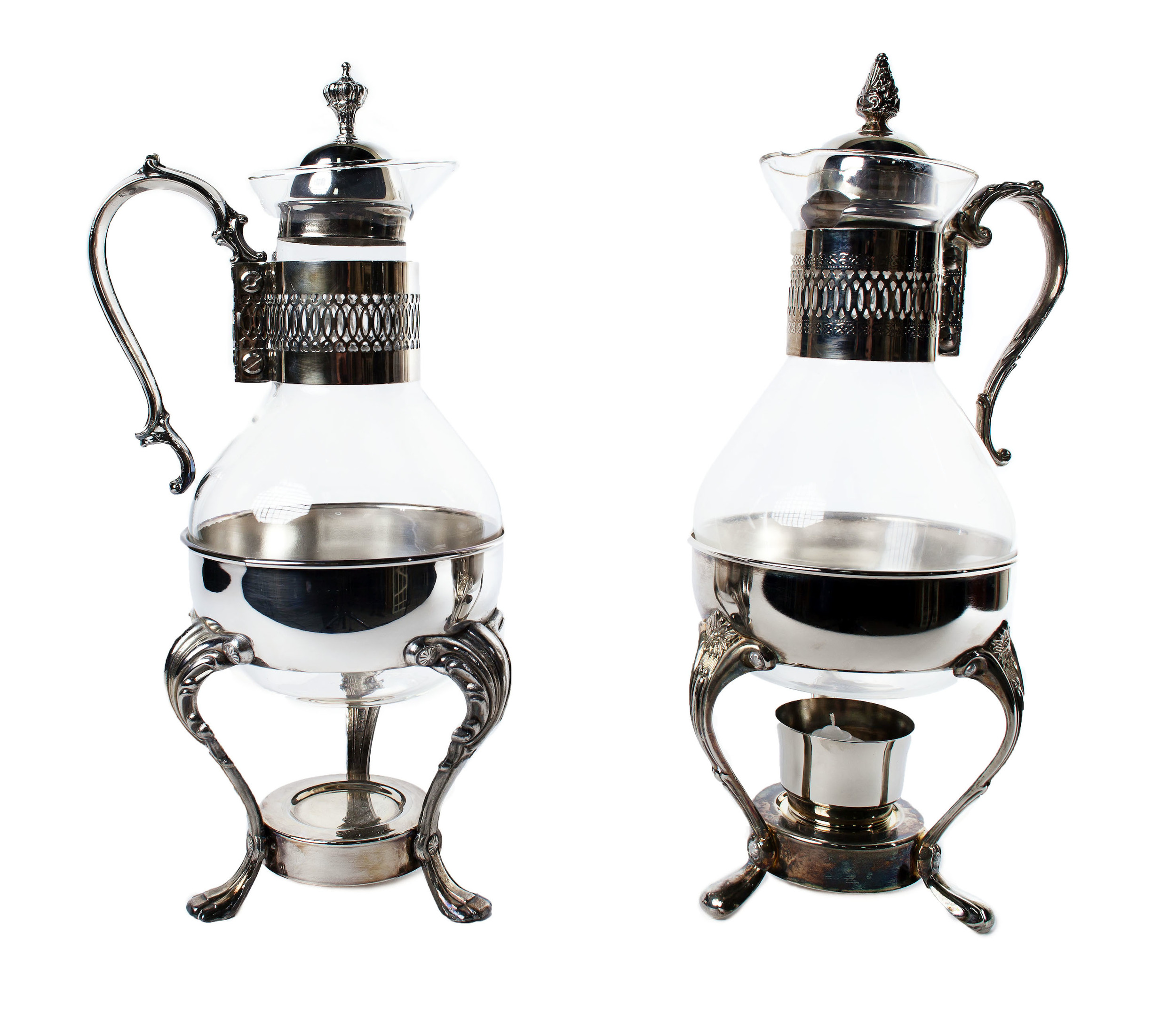 Glass & Silver coffee carafes