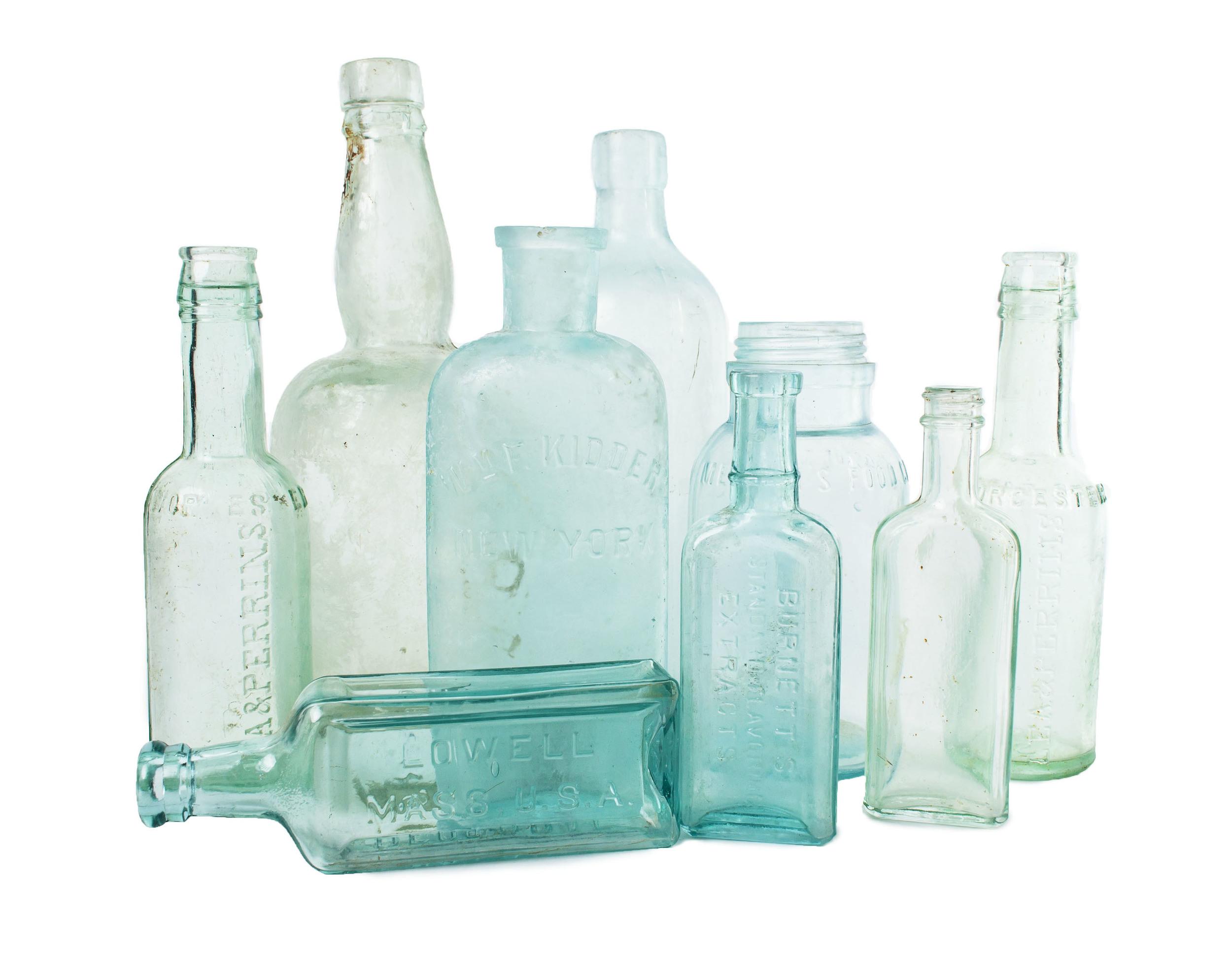 Assorted blue bottles