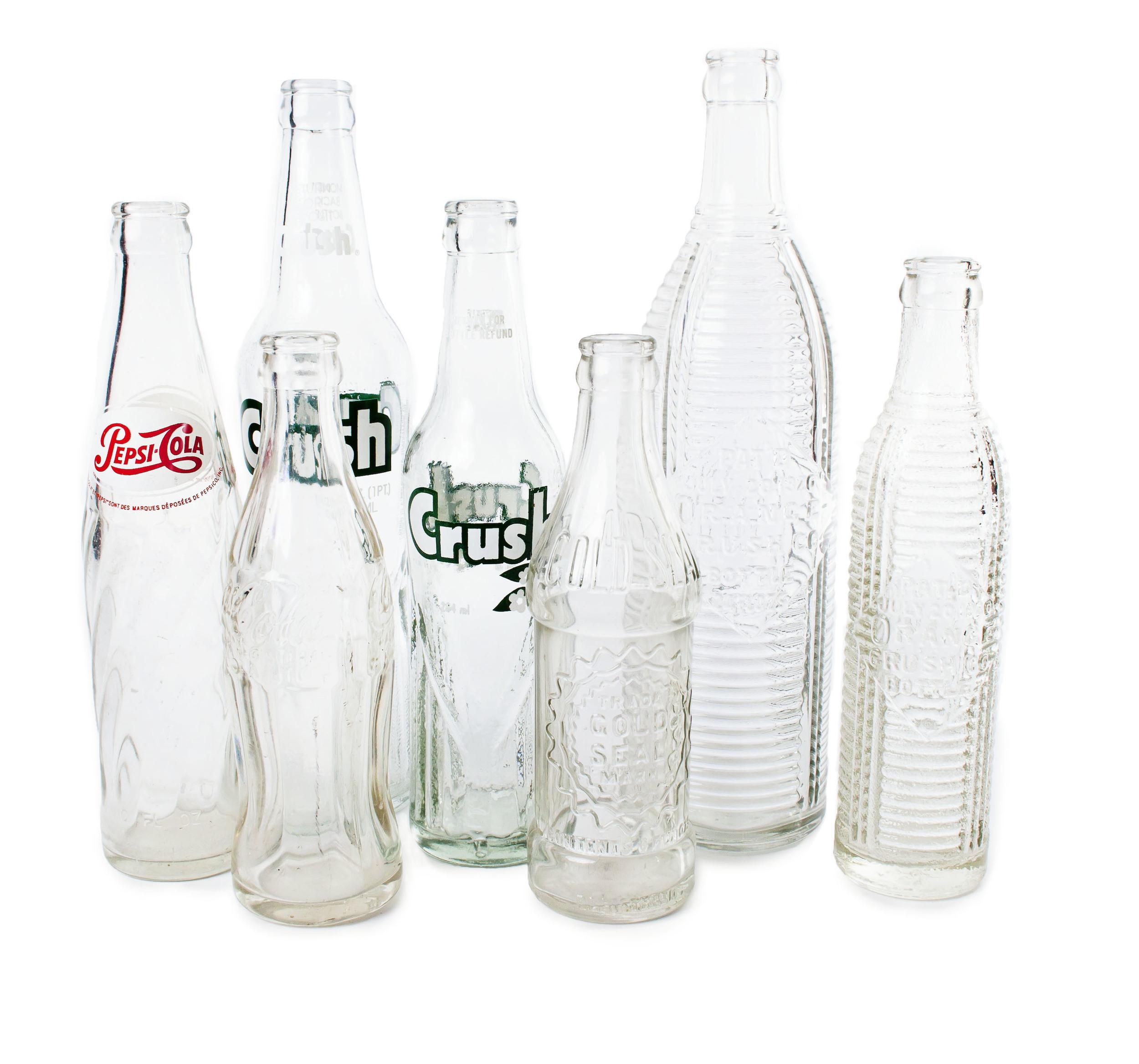 Assorted pop bottles