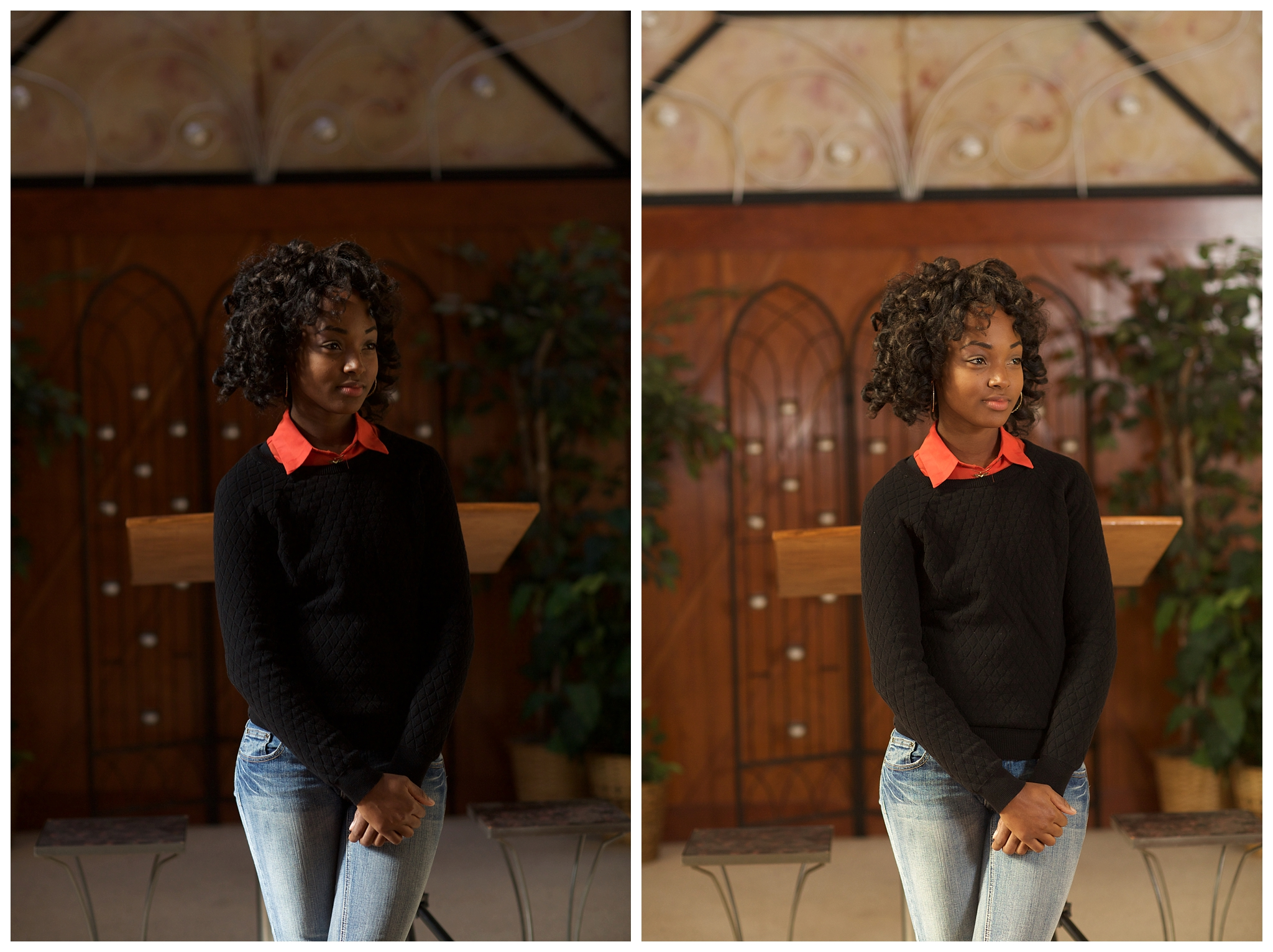 We practiced out OCF in a chapel with uneven window light. The left image is natural light and the right image was created by placing an OCF with a shoot through umbrella on the model's left side and by bouncing another flash off the wall to her right. It's amazing the difference in results! Don't you think so?