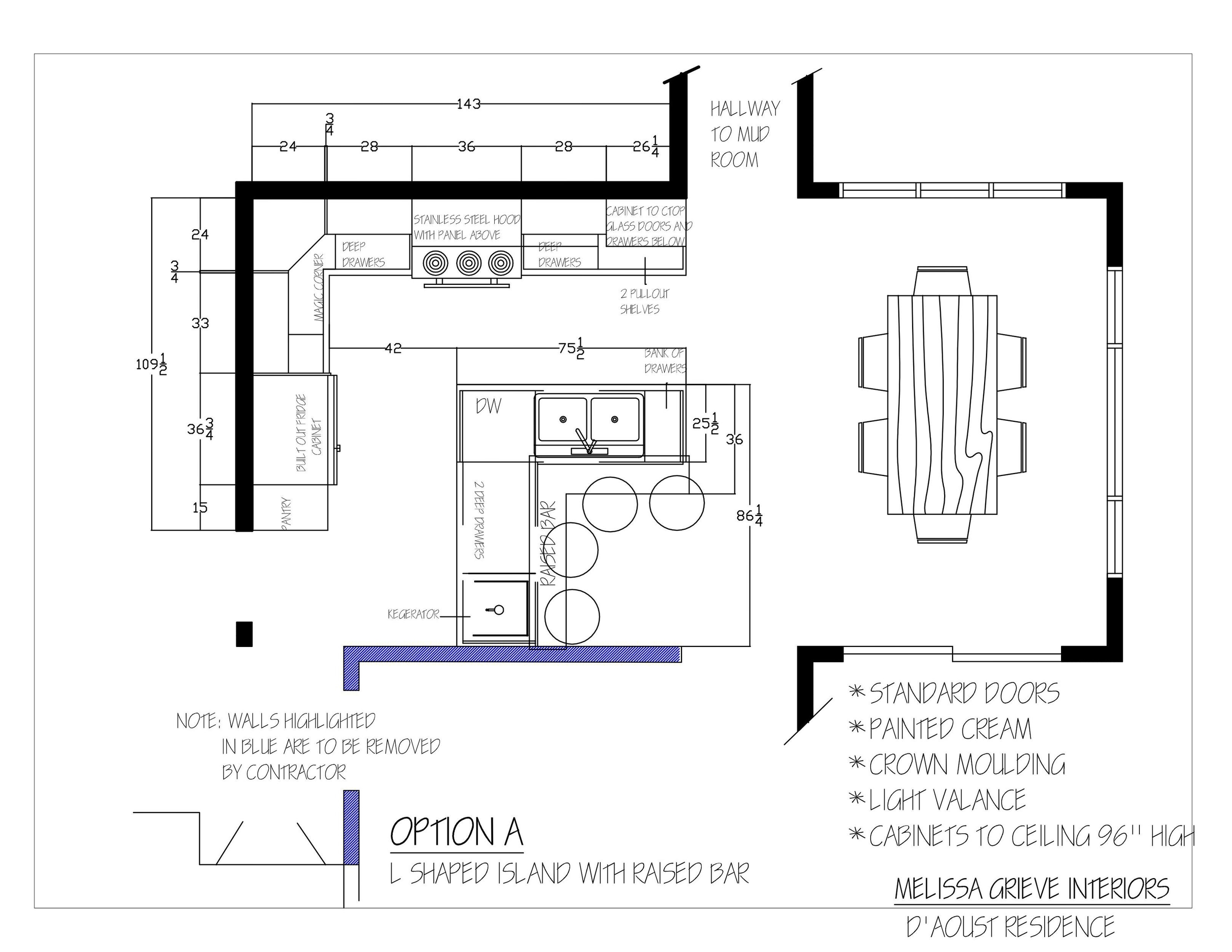 kitchen design floor plan option a
