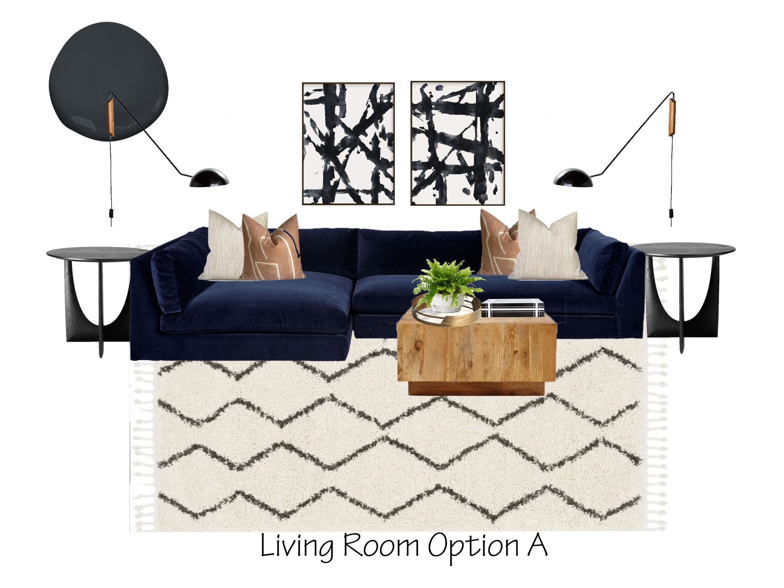 Eclectic Living Room Design Option A