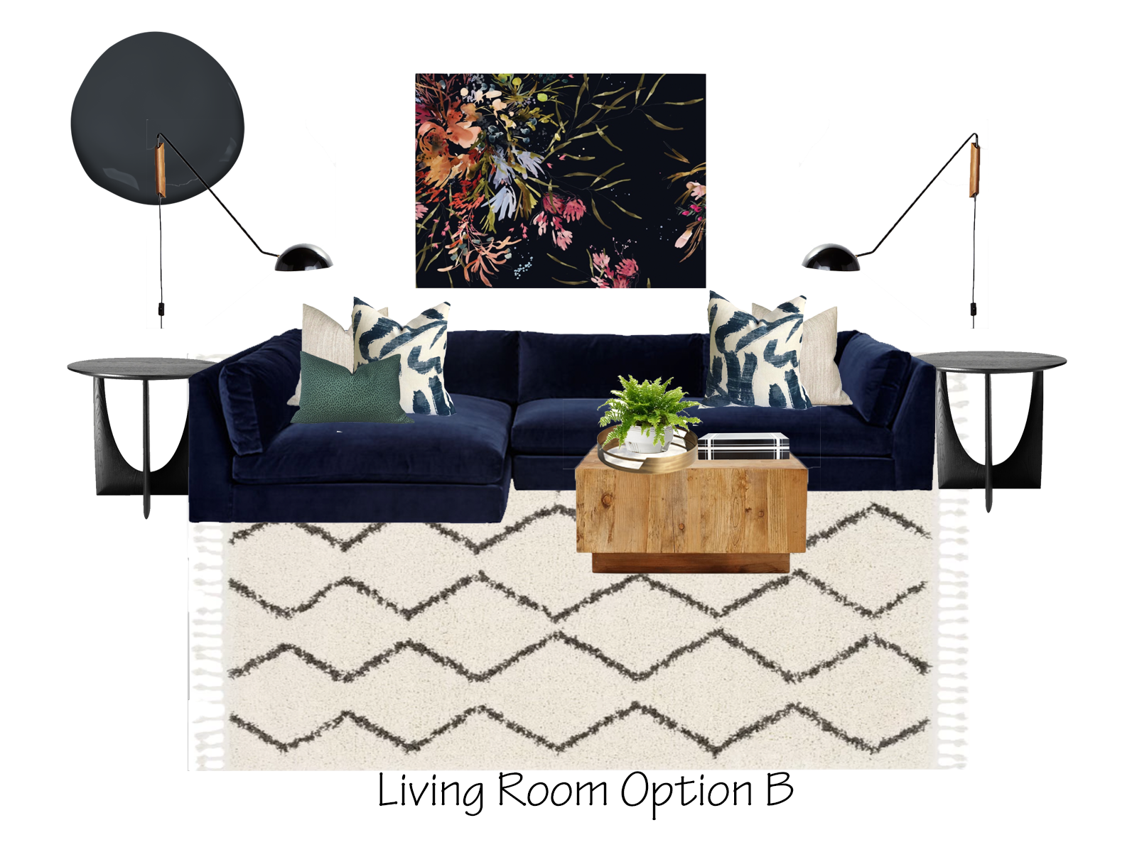 Eclectic Living Room Design Option B