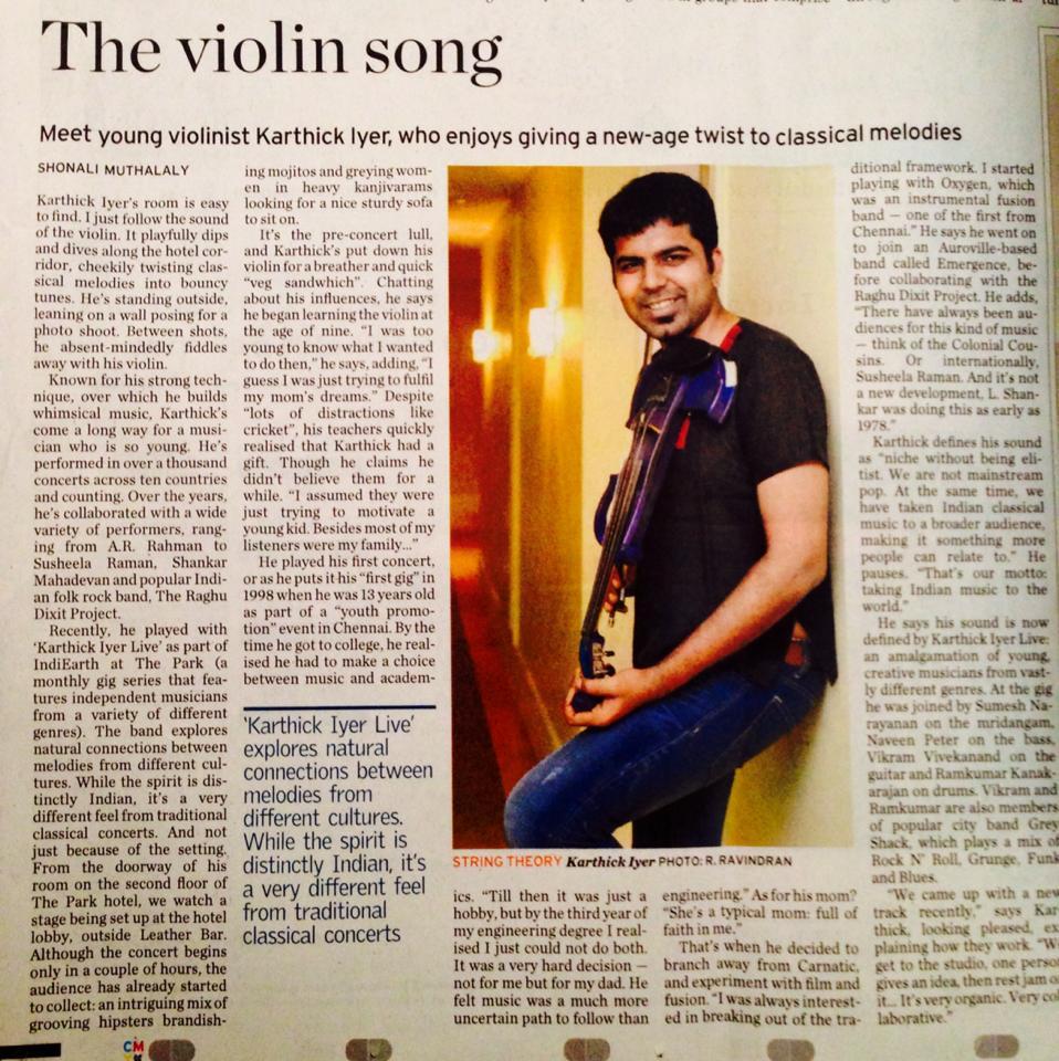 Violinist Chennai Musician Karthick Iyer