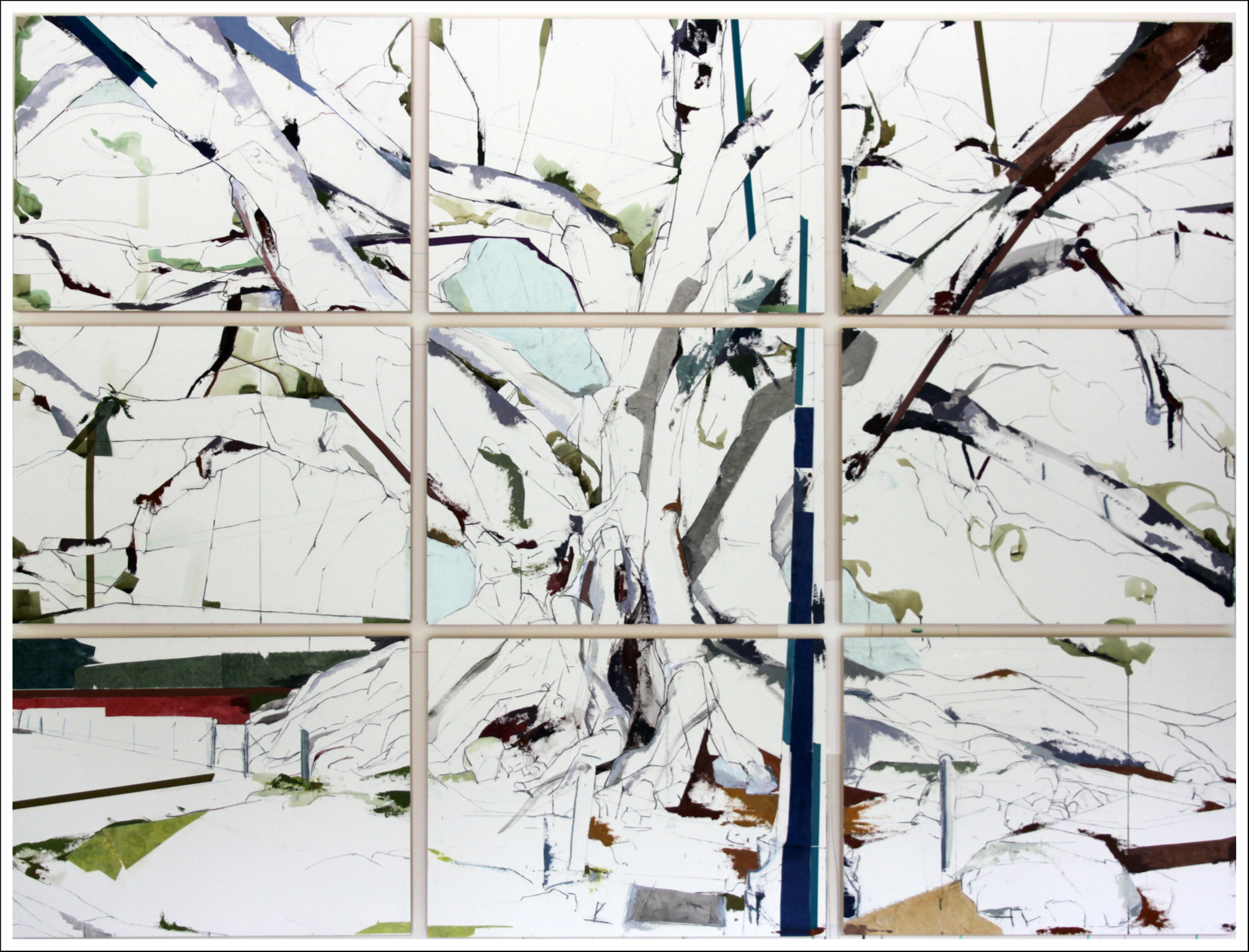 "34° 24' 49.45"" N  119° 41' 38.15""    W Moreton Bay Fig SB II  , 2013, Mixed-media on paper  (66 inches x 90 inches) - each panel 22 inches x 30 inches)"