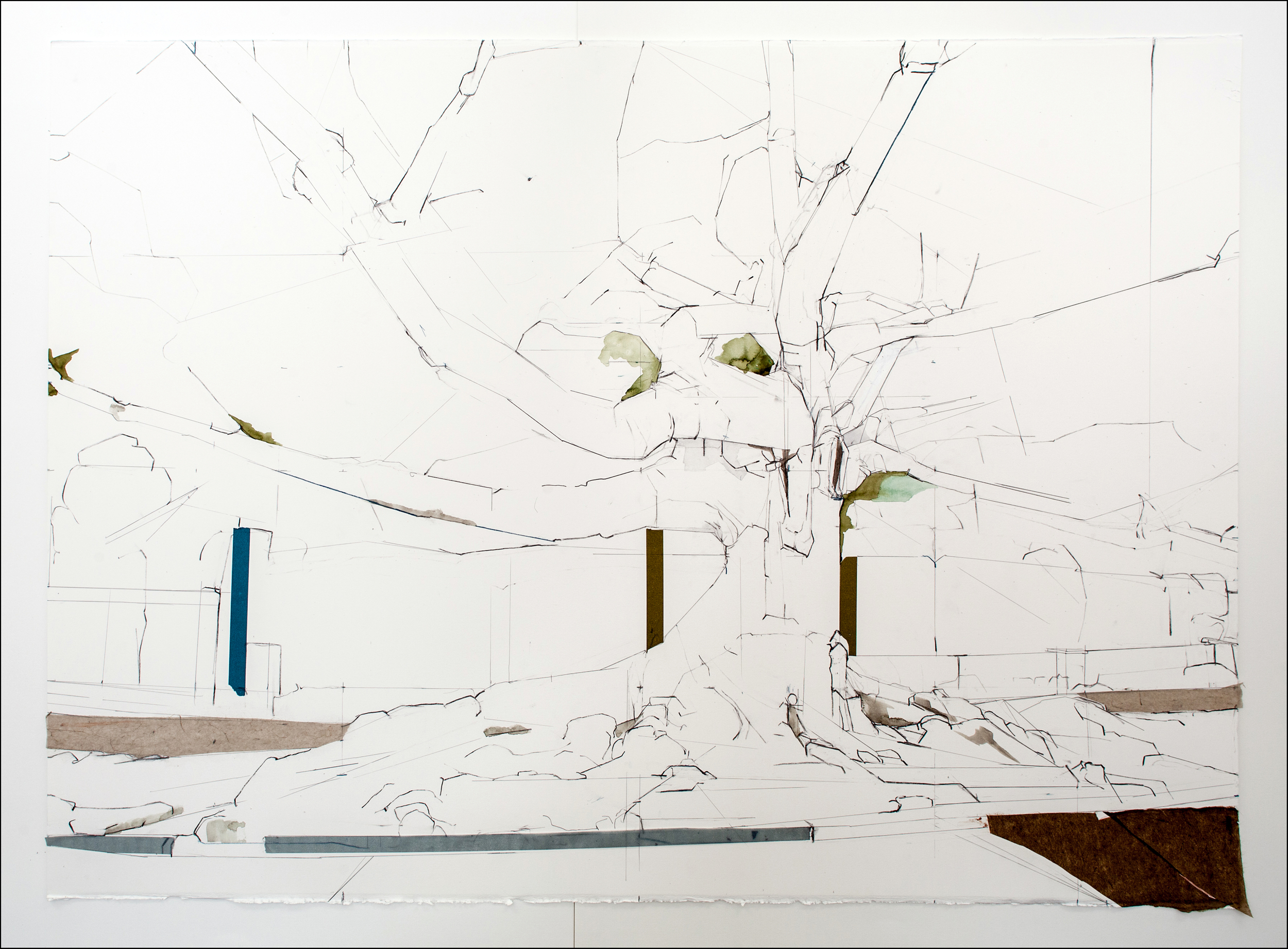 """34° 02' 55.00"""" N 118° 29' 39.55"""" W,  2012, Mixed Media on paper (38 inchesx 48 inches) (framed)"""