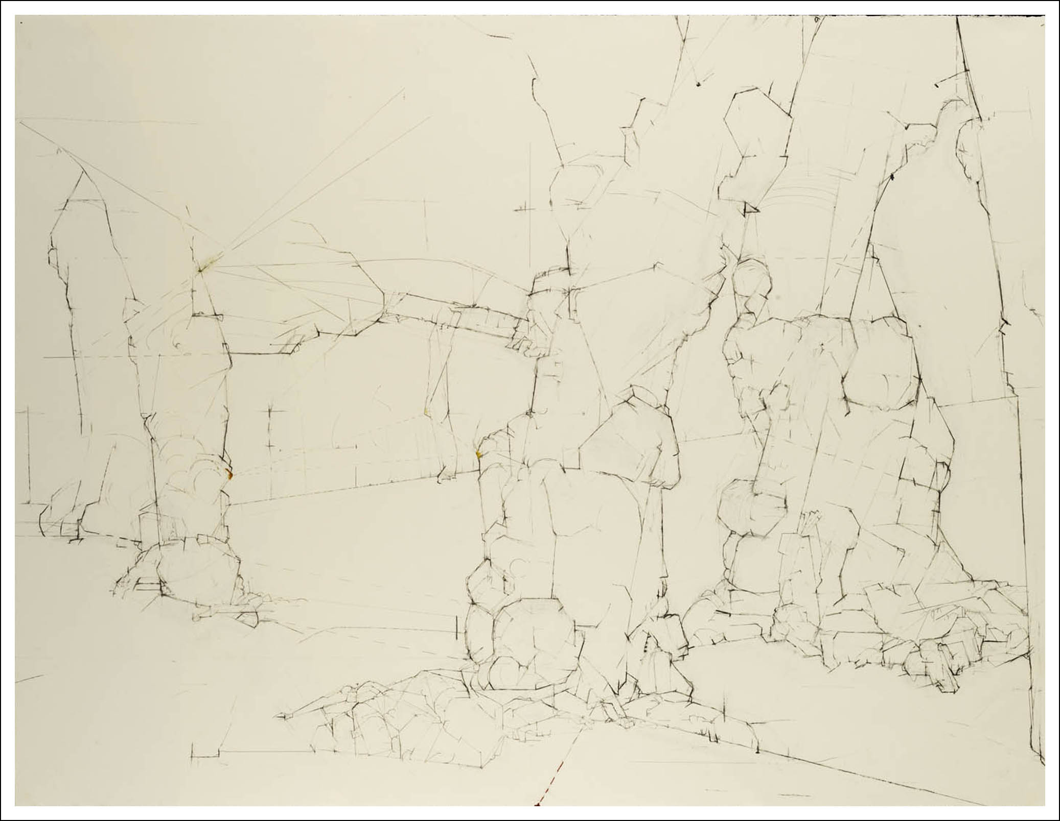 """Prunus Yedoensis (236°) 40° 47' 00.6"""" N 073° 57' 35.1"""" W,  2006, Charcoal, pencil on paper (38.25 inches x 50 inches) SOLD"""