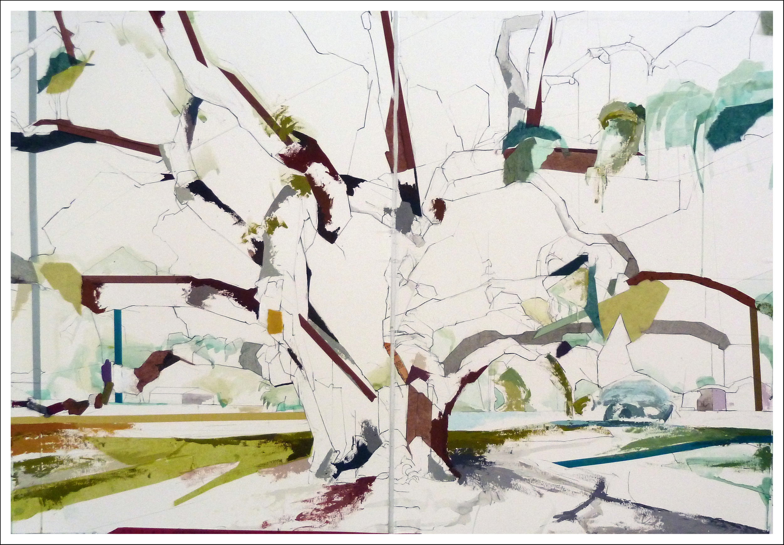 "29°59'16.6""N  97°52'46.9""W  Kyle Auction Oak II Diptych,  2014, (30 inches x 44 inches) Mixed-media on paper SOLD"