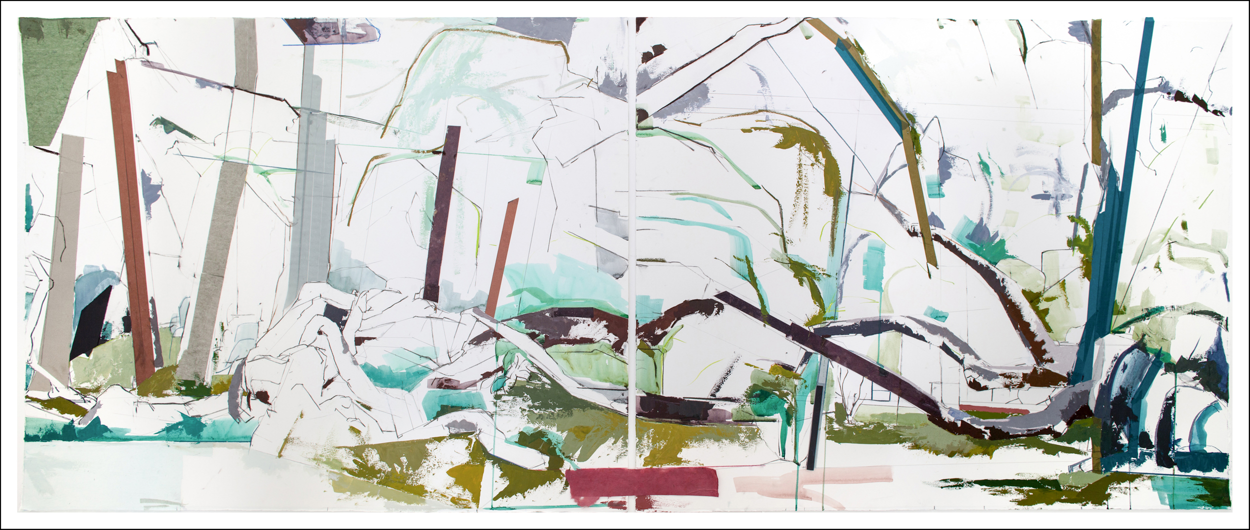 Untitled Diptych Paris/SF,   2012, Mixed-media on paper  (29.5 inches x 72 inches) (unframed) SOLD