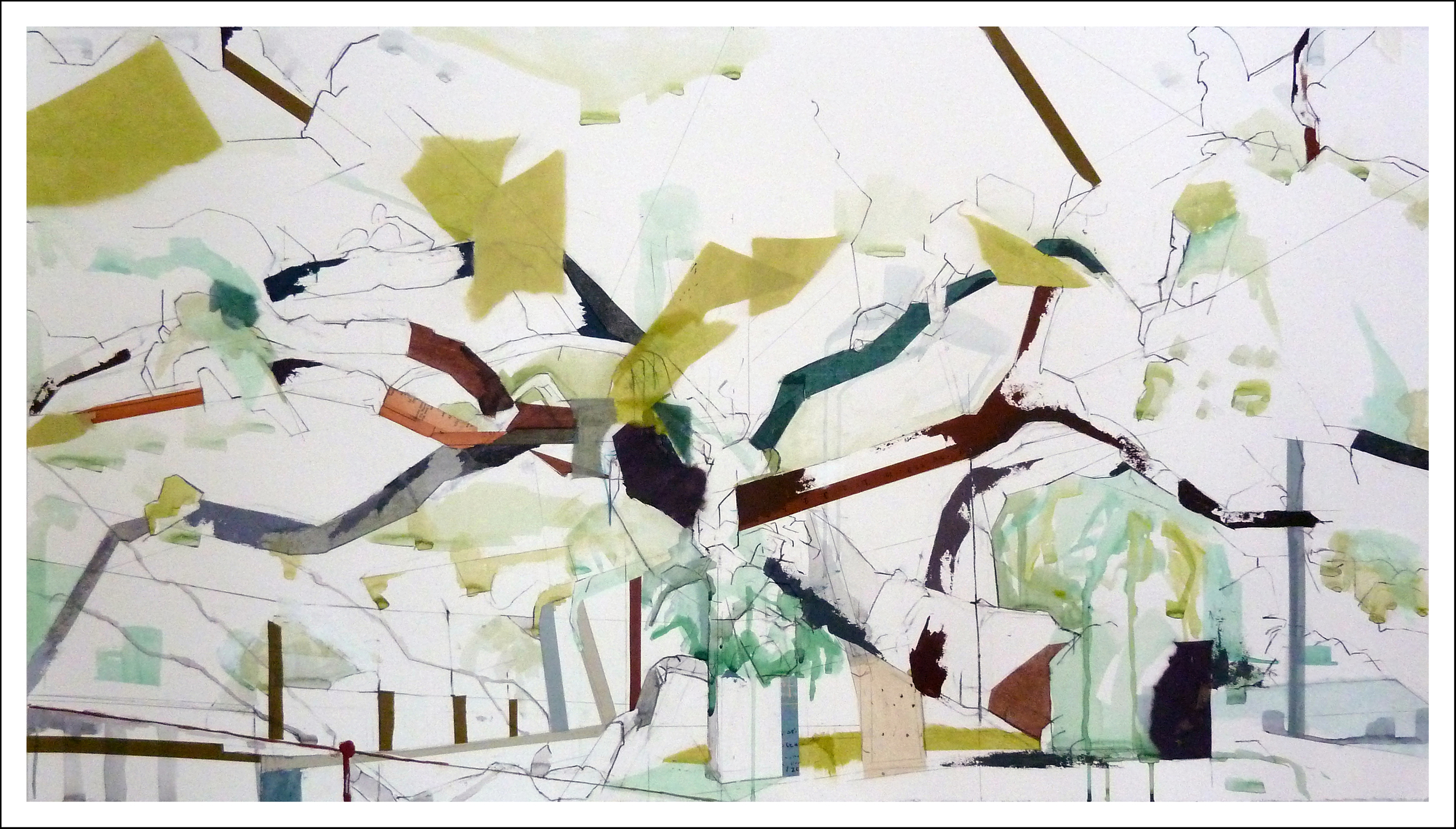 """29°42'41.0""""N 98°08'10.0""""W     Founder's Oak I,   2014    30 inches x 41.25 inches,    Mixed-media on paper"""