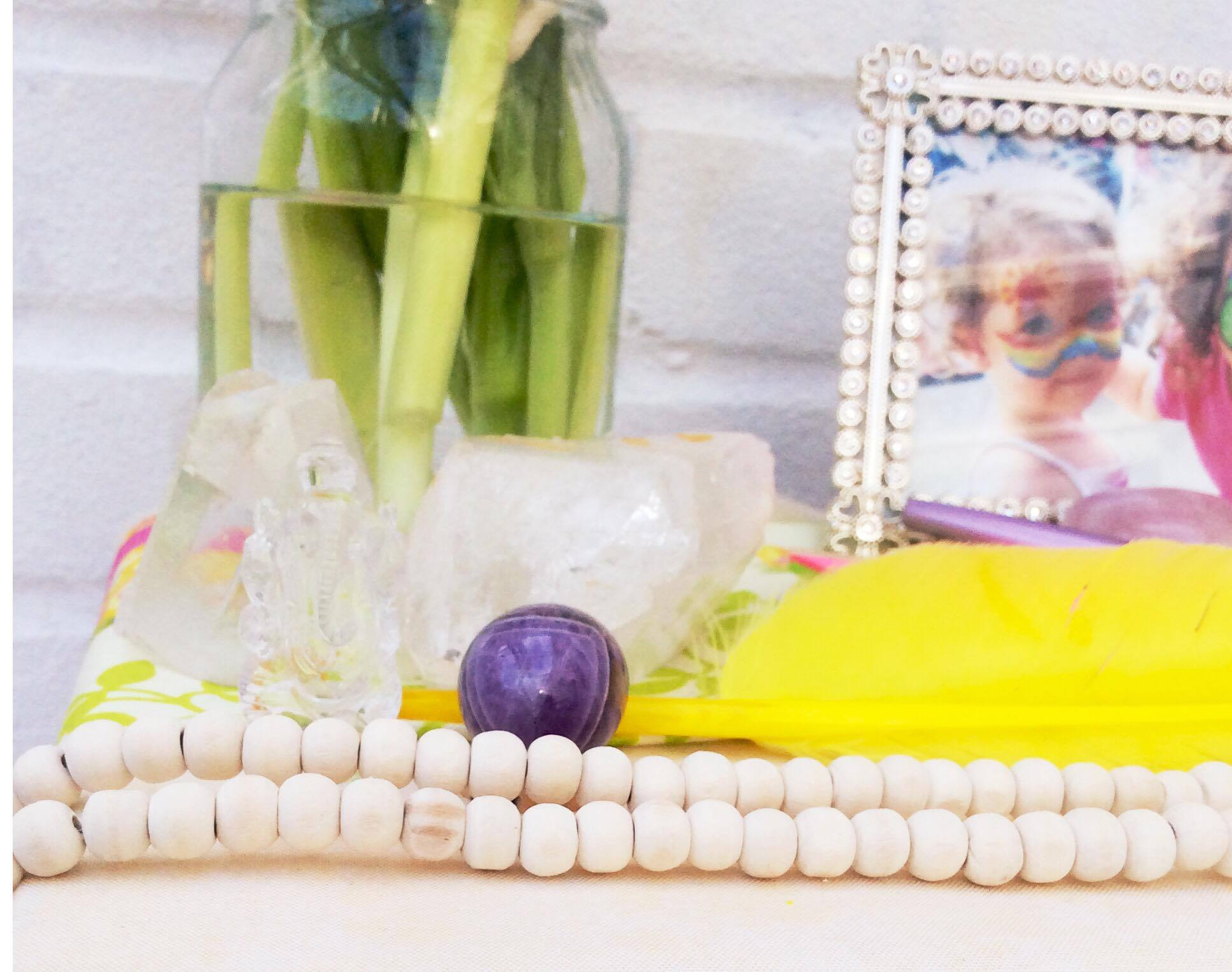 Included are a clear quartz Ganesha and amethyst egg, both which represent new beginnings.