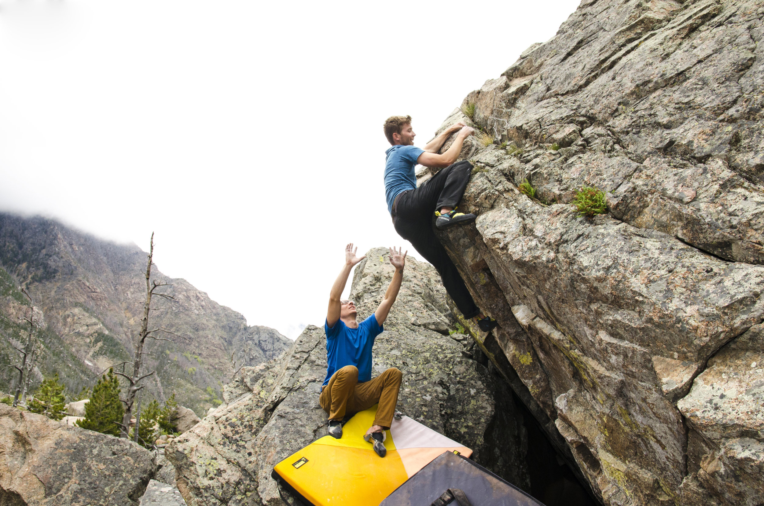 Ben Hoiness and Alton Richardson explore some boulders off the East Rosebud Lake trail. Photo by Karissa Frye