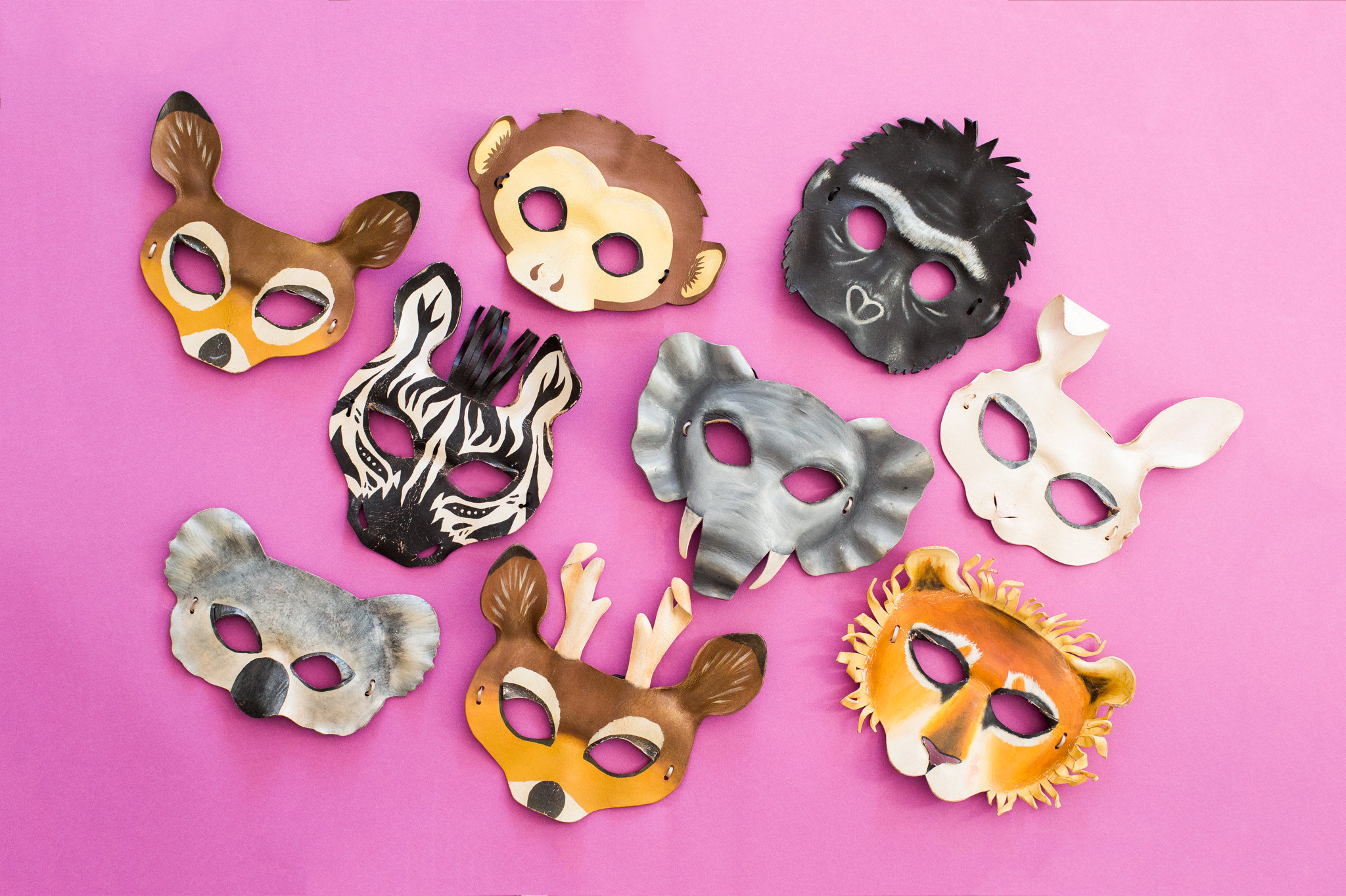 LEATHER ANIMAL MASK PROP KIT - Hands down our favourite prop kits as these amazingly crafted leather animal masks mould perfectly to your face, look great and leave enough of your hair, eyes & face to make your animal uniquely yours :)*Subject to availability