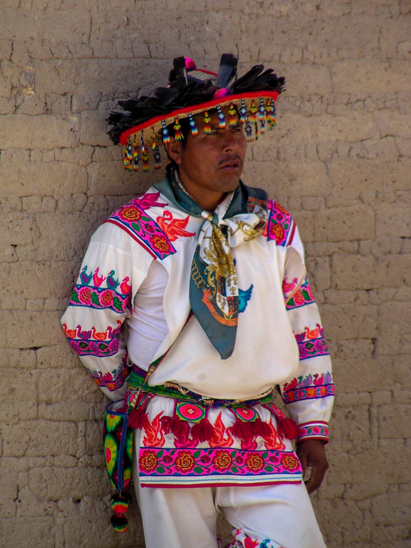 Traditional Wixarika man attire