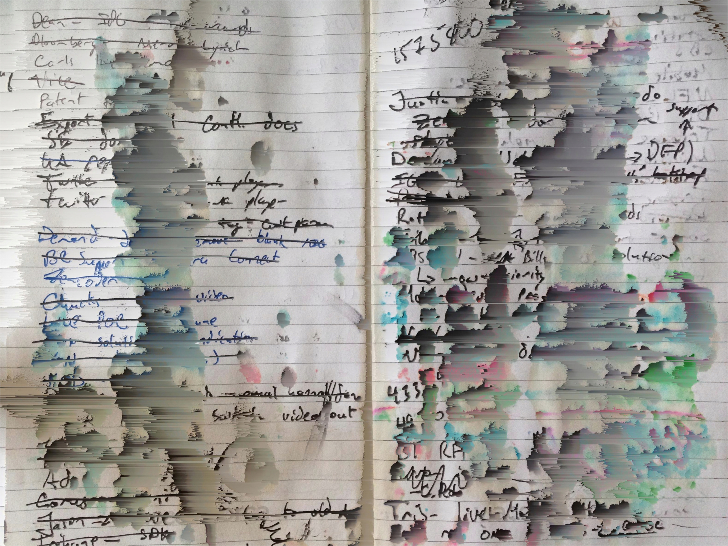 Pixel sorted notebook with coffee damage