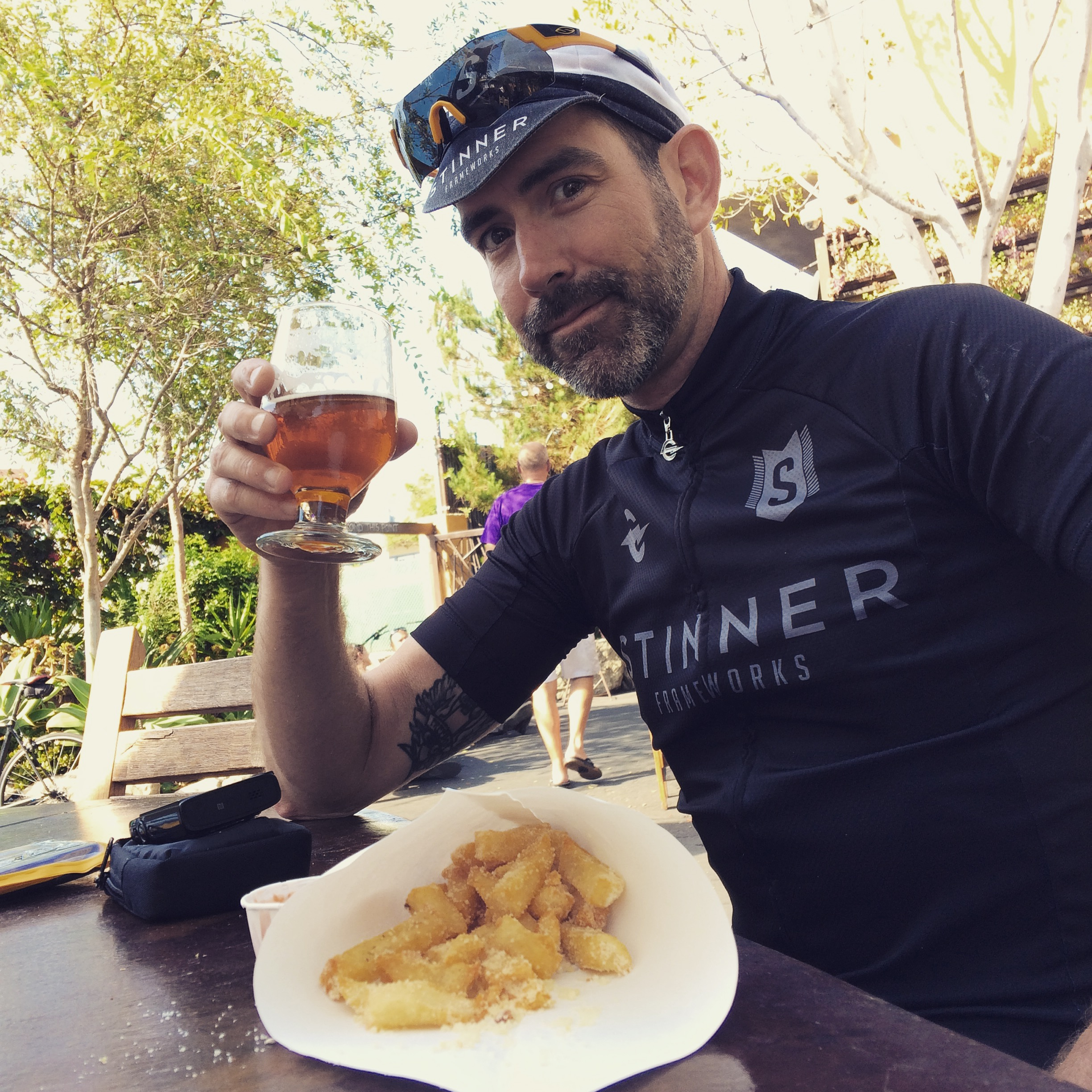 Beer and Belgian frites after sharing some miles with CJ at the Stone Brewery tasting room in Oceanside, CA. Doesn't get much better!