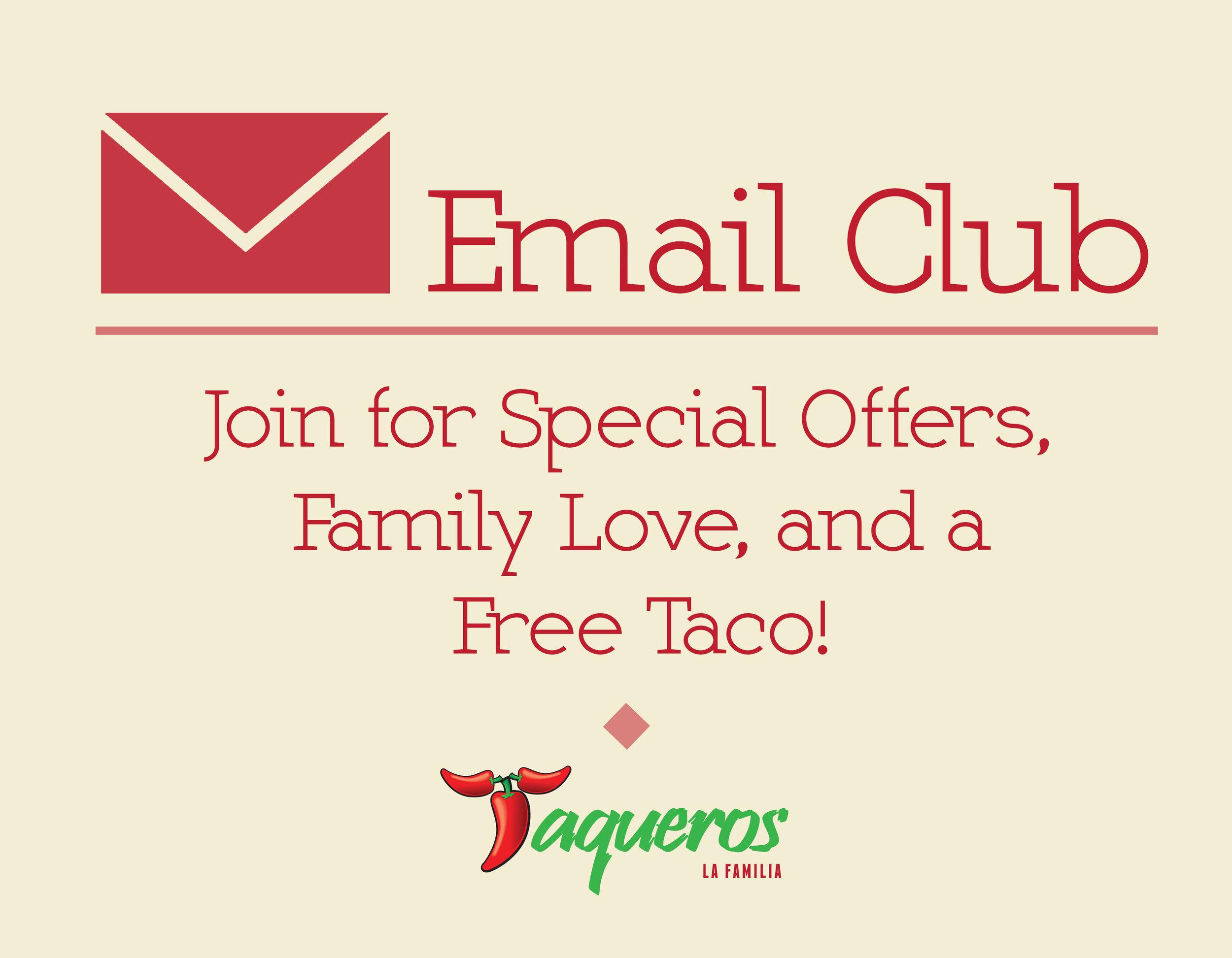 Taqueros Mexican Restaurant Email Club