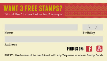 TaquerosMexicanRestaurant StampCard Back