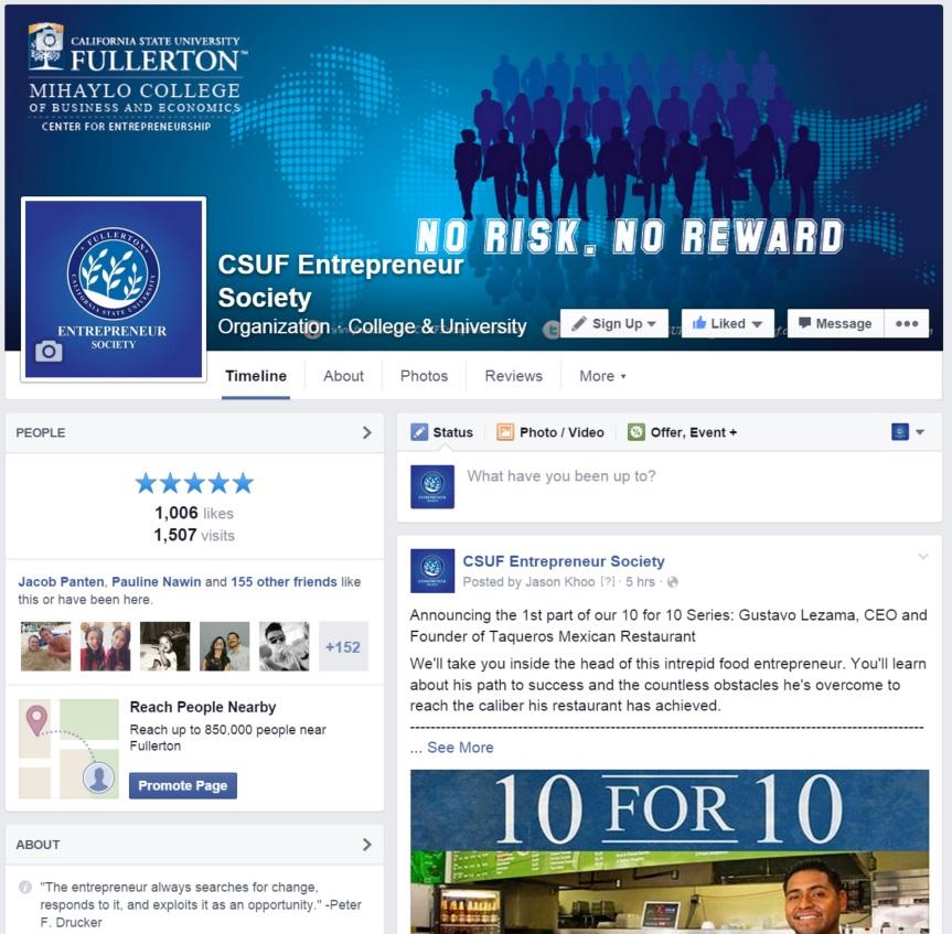 Entrepreneur Society Facebook