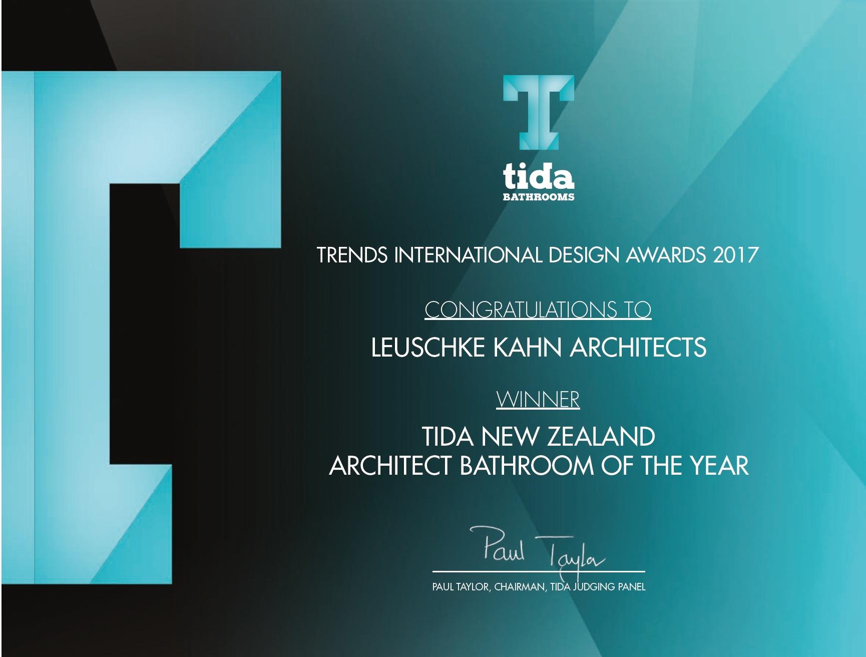 Architect Bathroom of the Year - TIDA Awards 2017