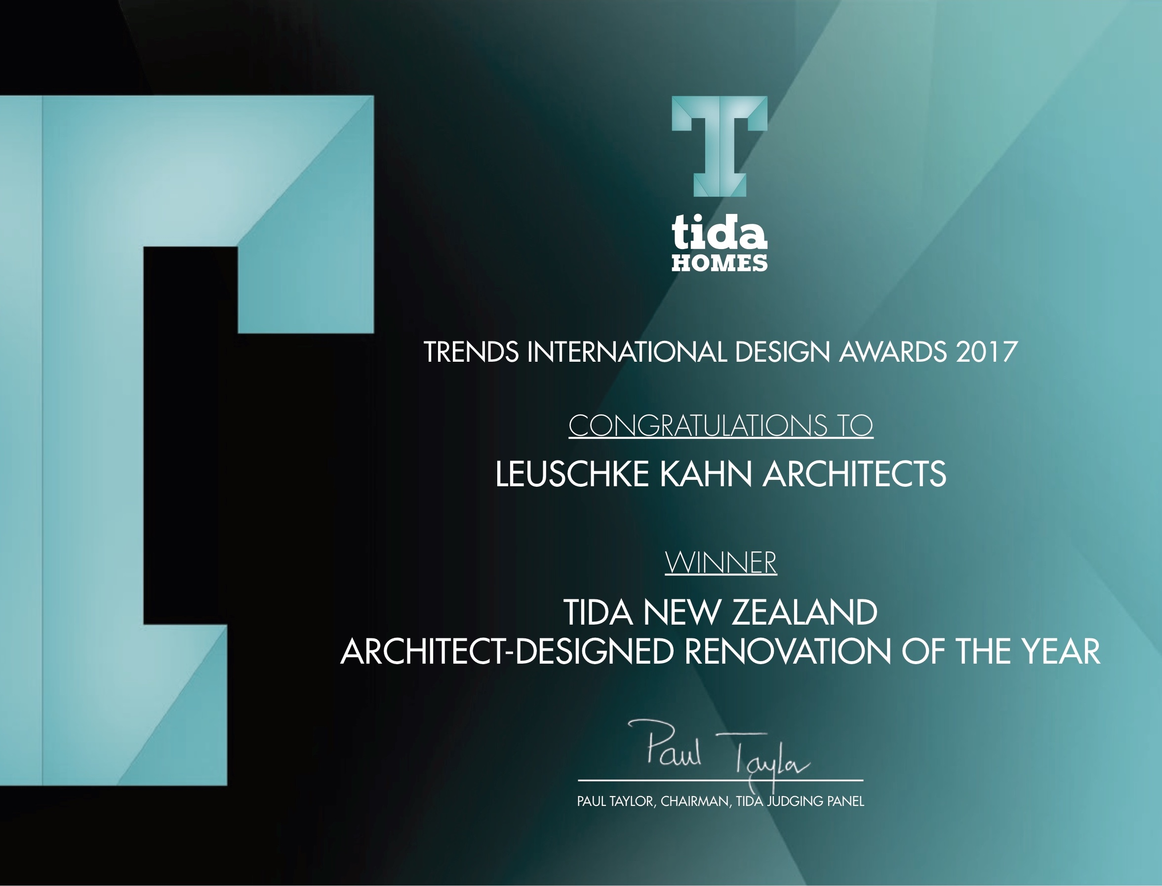 Architect-Designed Renovation of the Year - TIDA Awards 2017