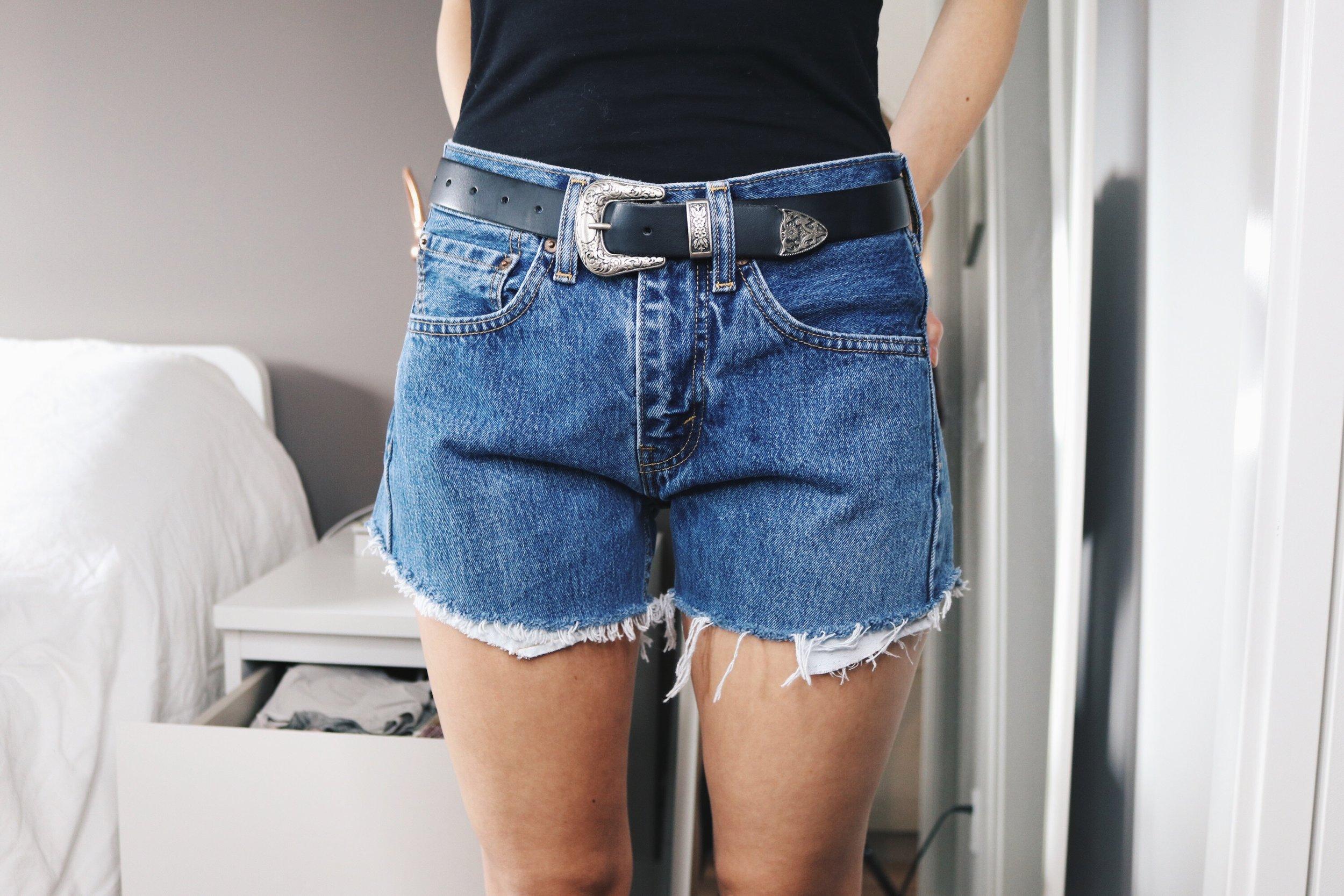 shorts - levi's 505's, belt - b-low the belt